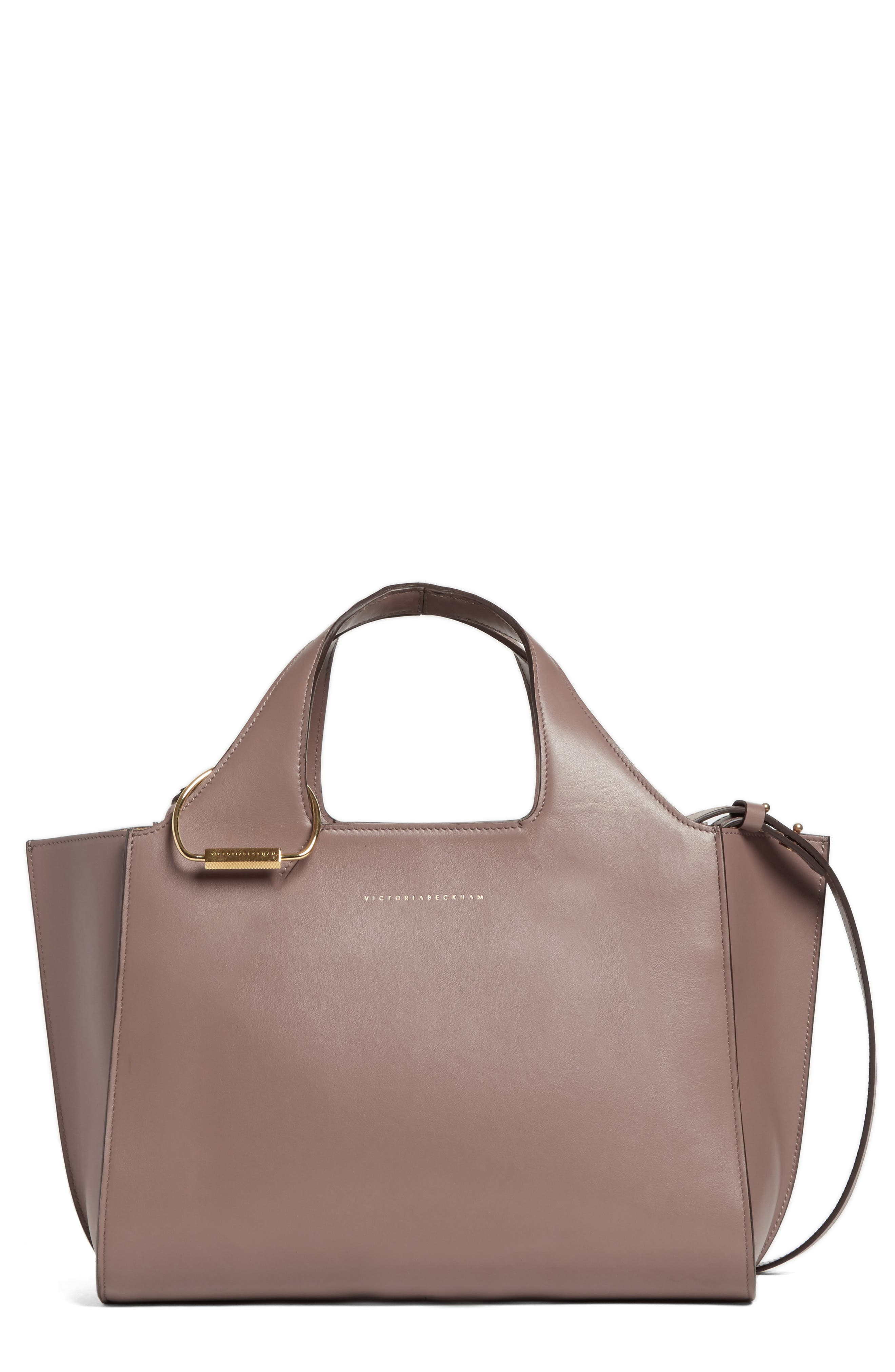 Small Newspaper Leather Tote,                         Main,                         color, 200