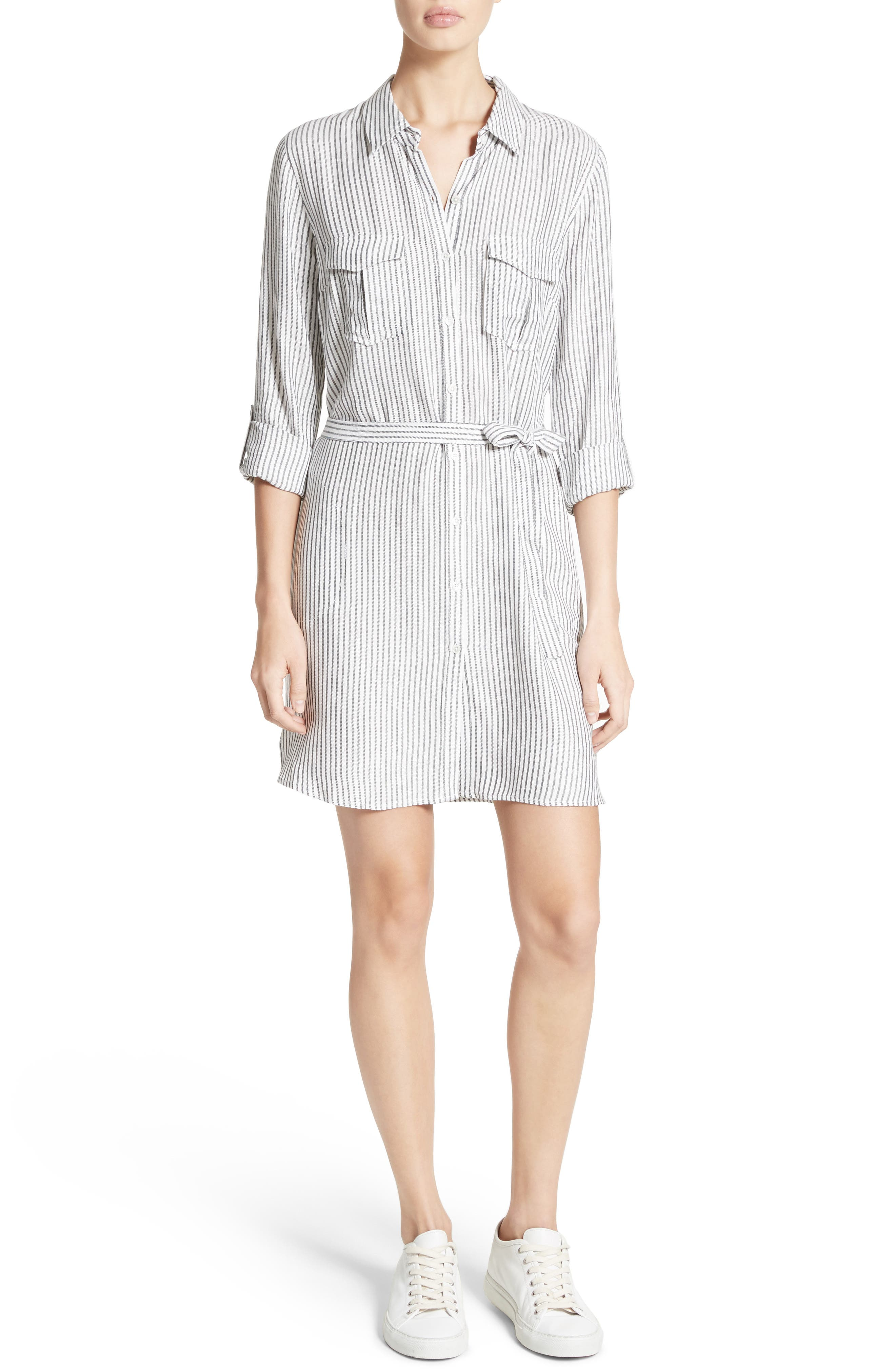 Wila B Belted Stripe Shirtdress,                             Main thumbnail 1, color,                             123