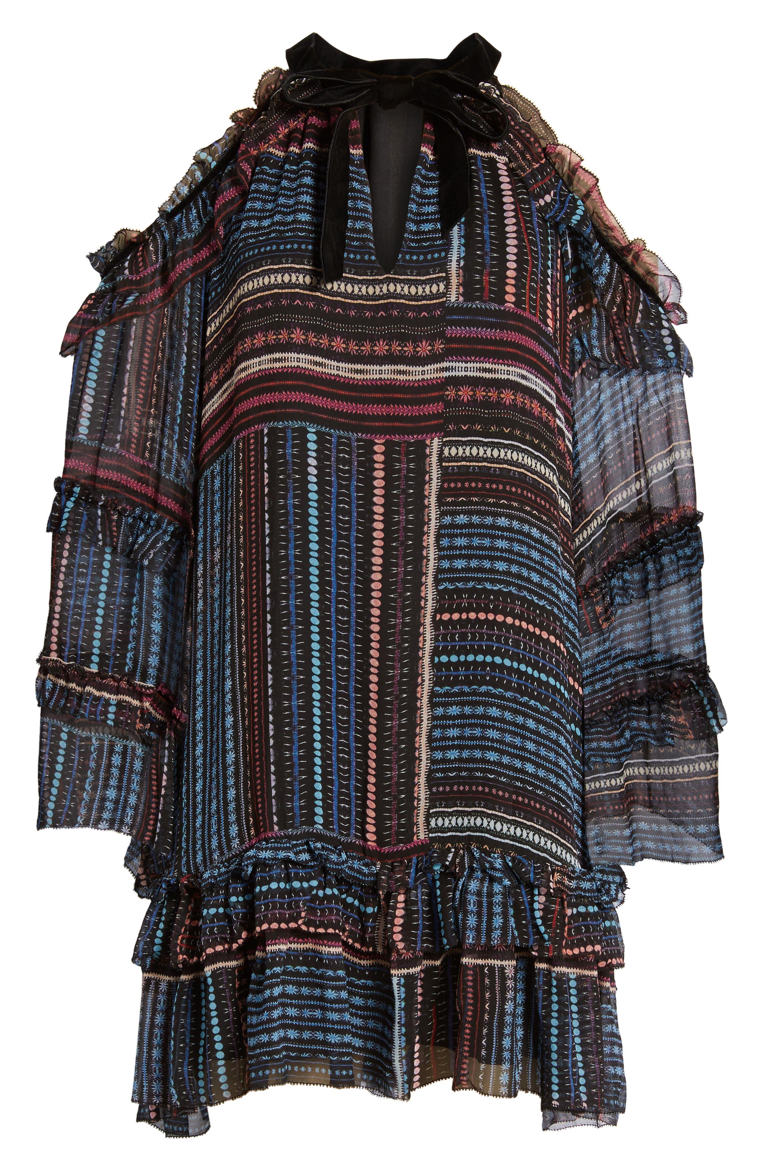 Bianca Cold Shoulder Silk Shift Dress,                             Alternate thumbnail 6, color,                             011