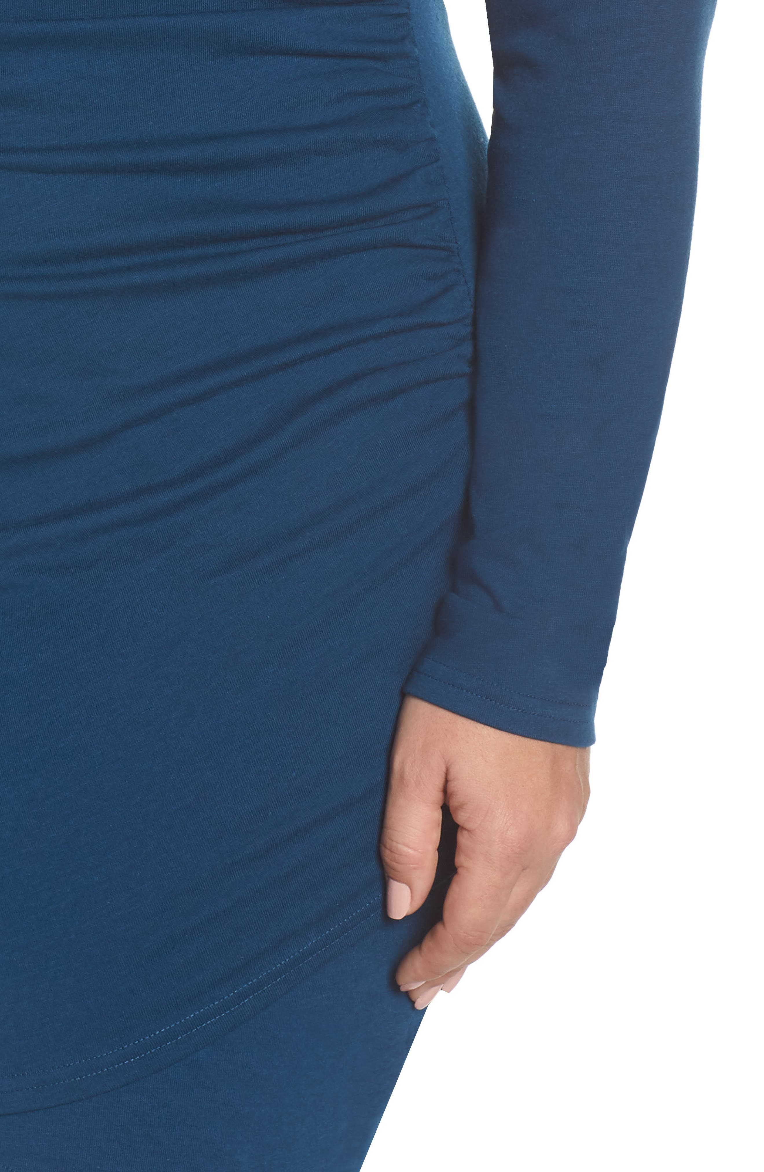 LEITH,                             Ruched Body-Con Dress,                             Alternate thumbnail 5, color,                             BLUE AURORA