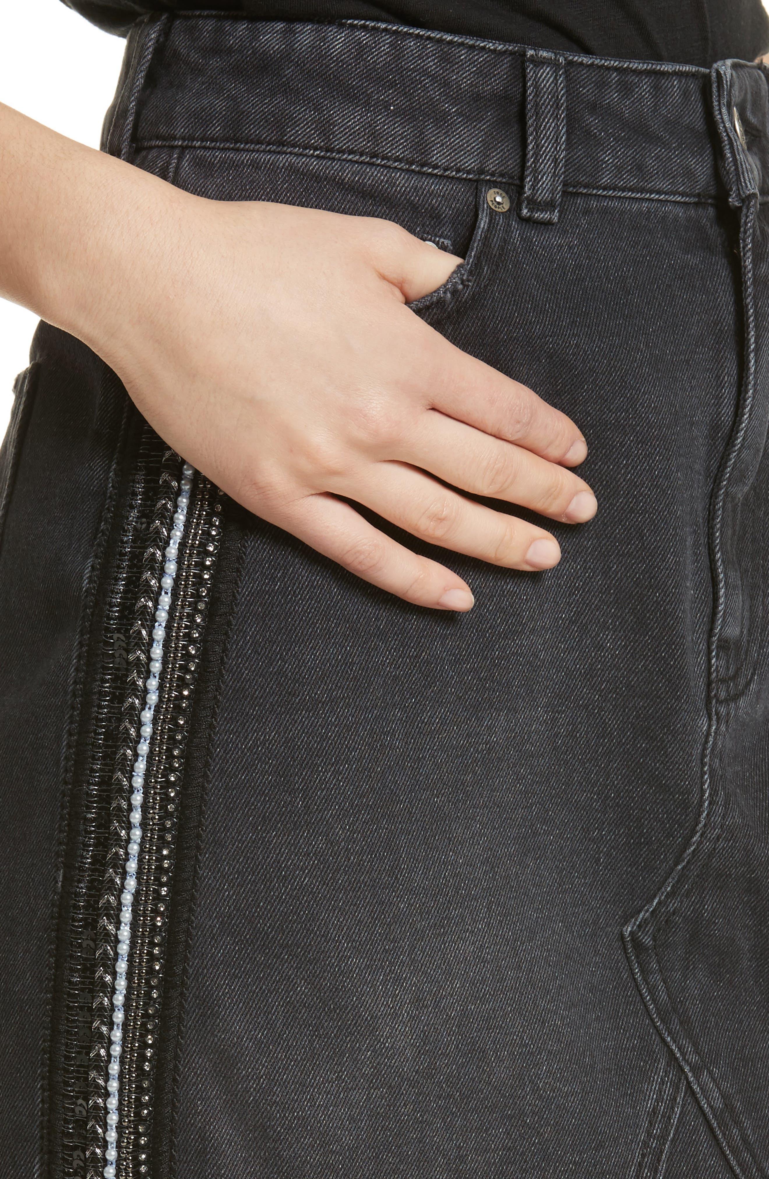 FREE PEOPLE,                             Stripe Cutoff Denim Miniskirt,                             Alternate thumbnail 4, color,                             001