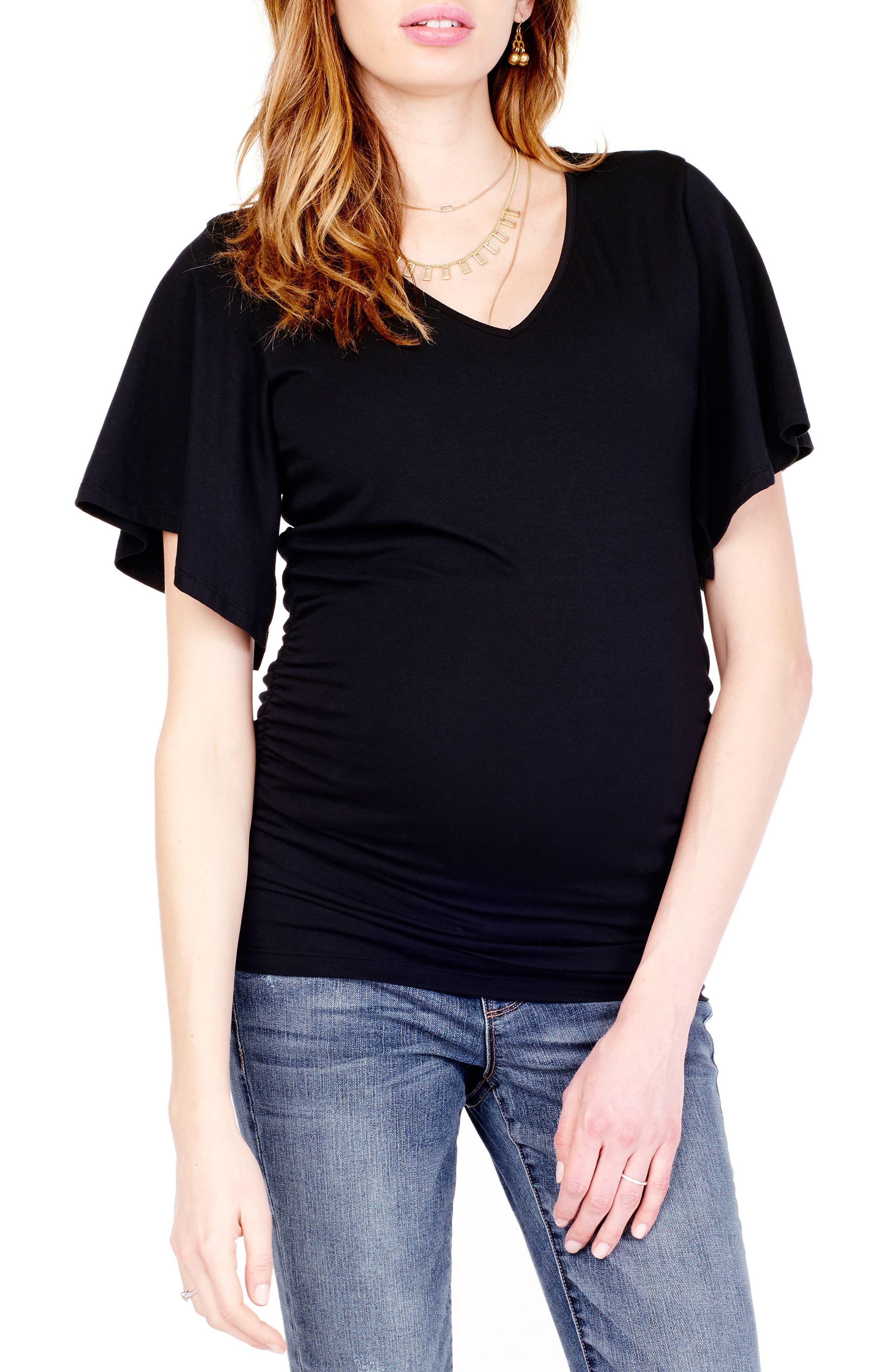 Flutter Sleeve Maternity Top,                         Main,                         color, JET BLACK
