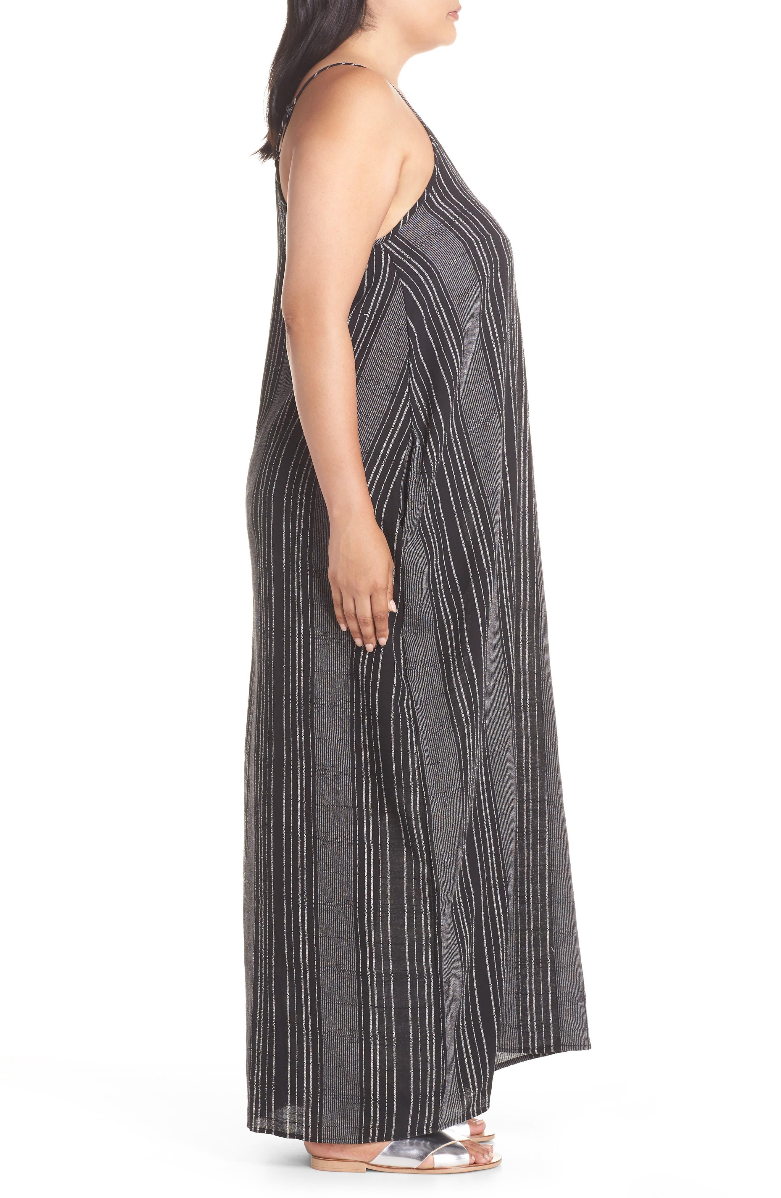Cover-Up Maxi Dress,                             Alternate thumbnail 3, color,                             BLACK/ WHITE STRIPE