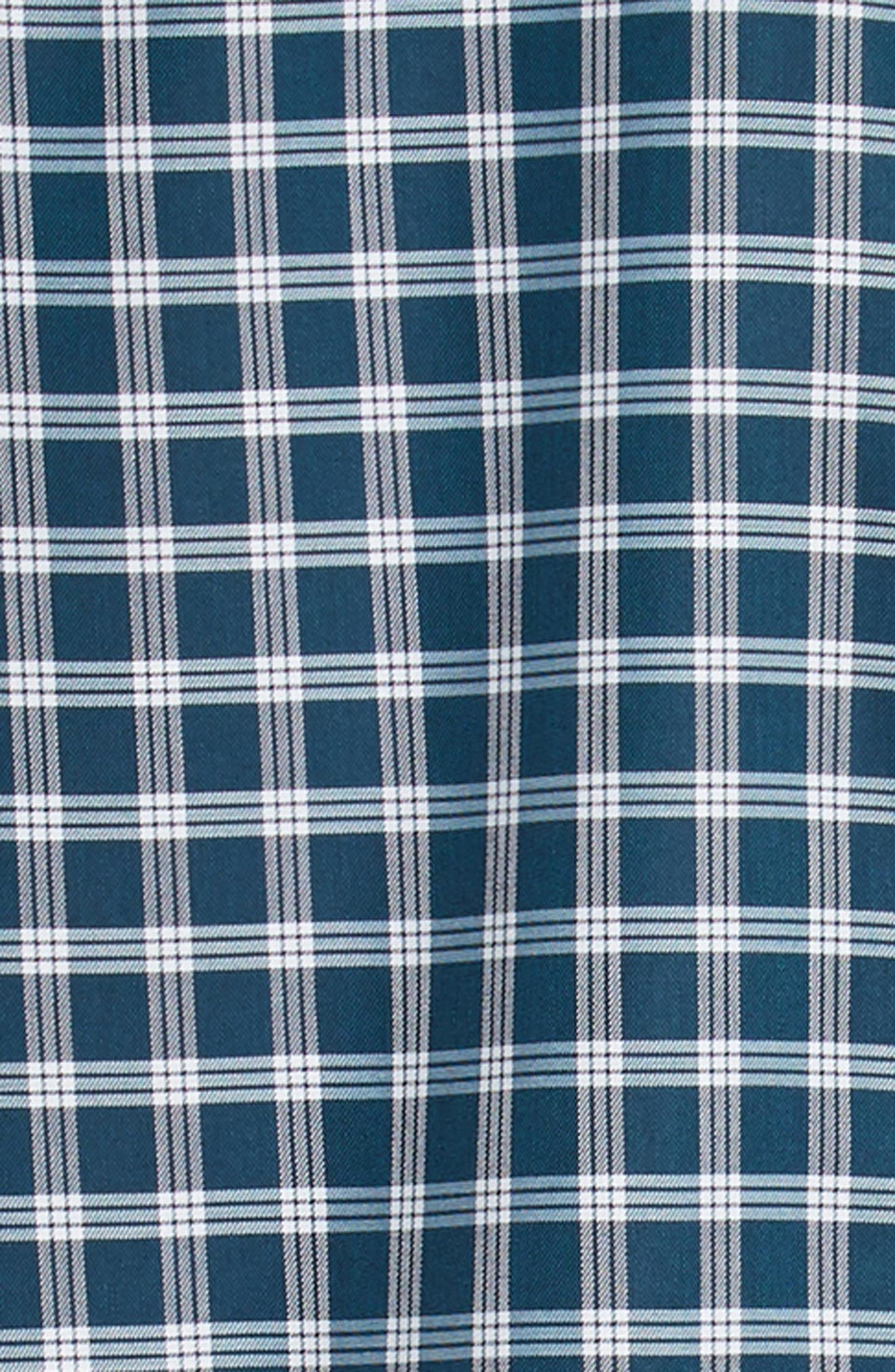 Smartcare<sup>™</sup> Slim Fit Check Sport Shirt,                             Alternate thumbnail 6, color,                             TEAL GLOSS WHITE CHECK