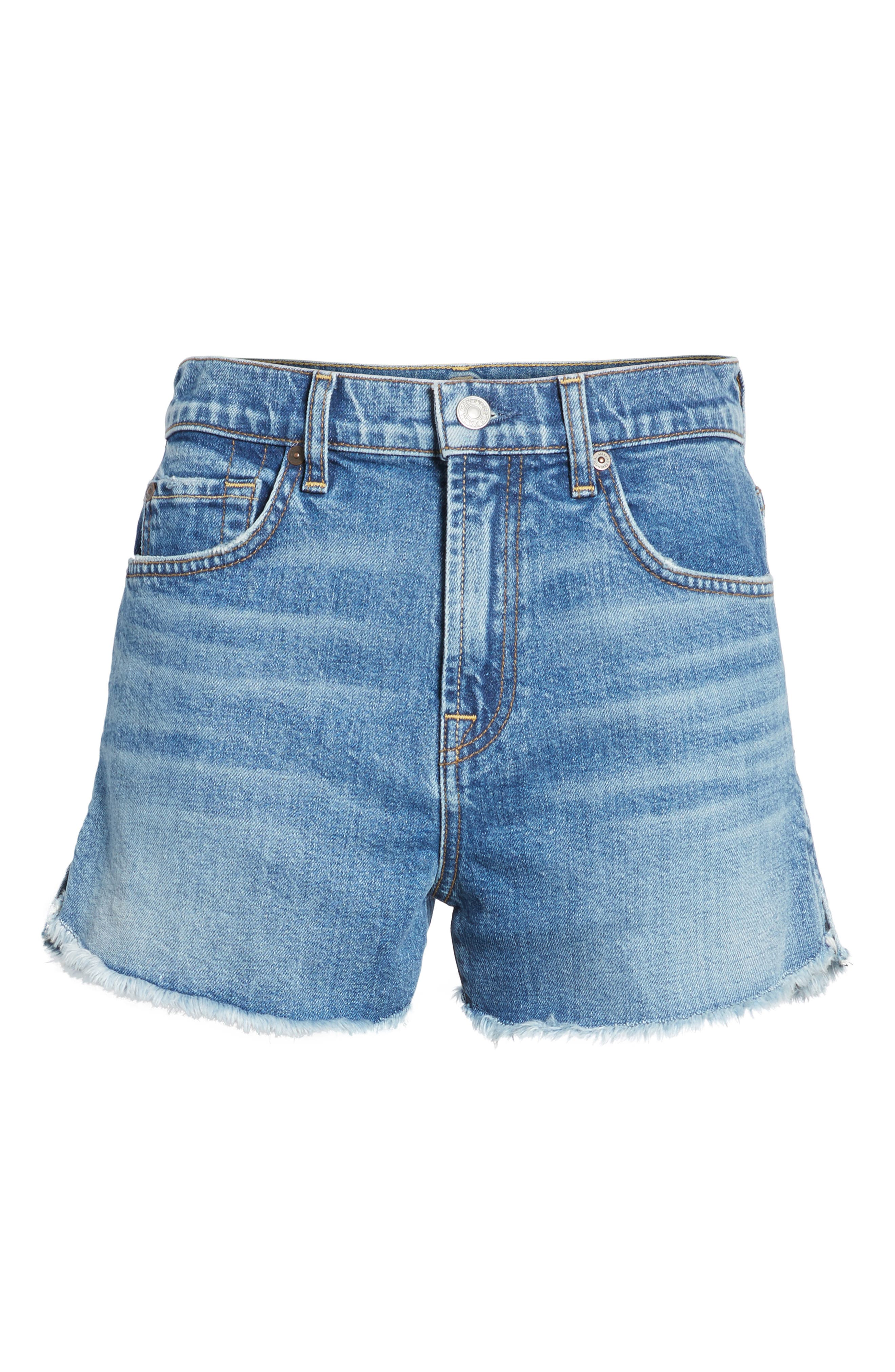 Cutoff Step Hem Denim Shorts,                             Alternate thumbnail 7, color,                             401