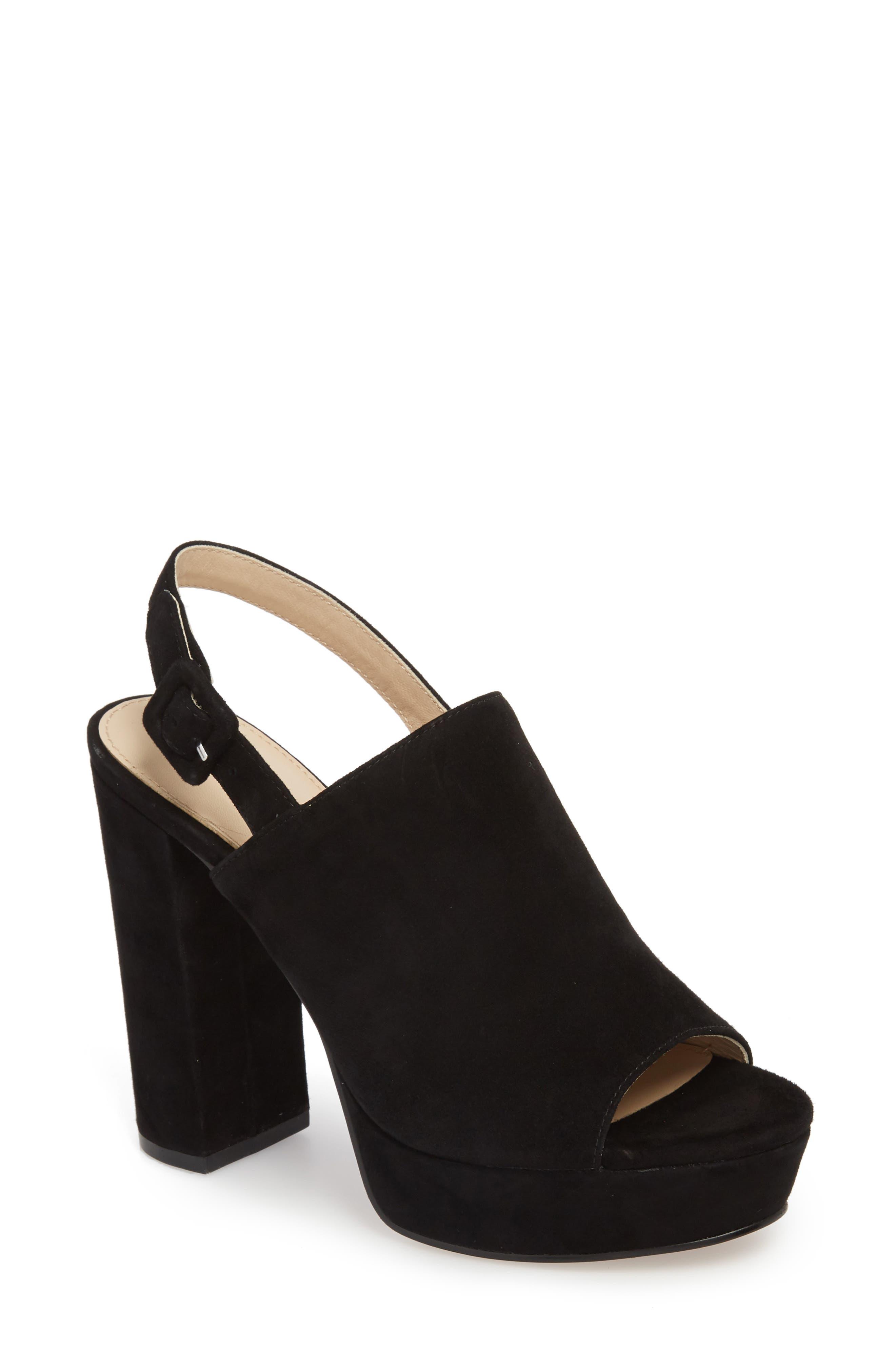 Jolene Platform Sandal,                             Main thumbnail 1, color,                             BLACK SUEDE