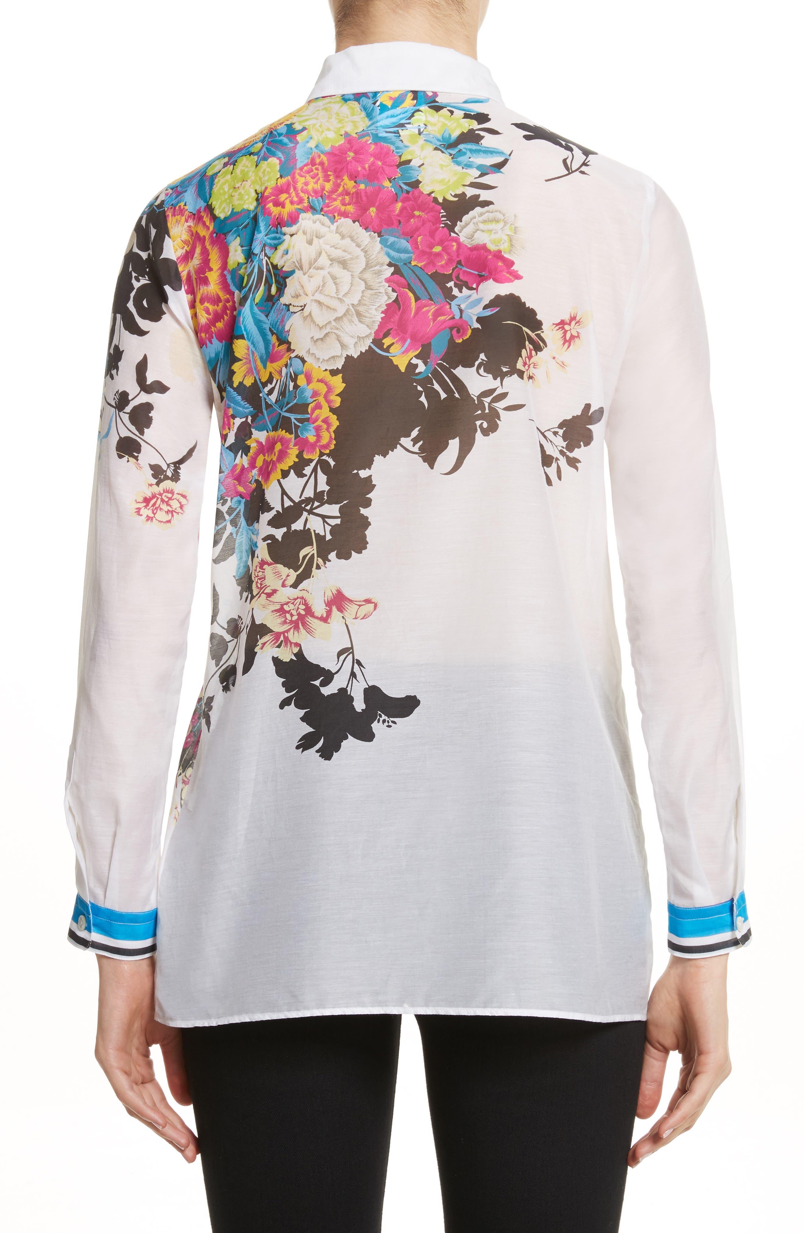 Floral Print Cotton & Silk Blouse,                             Alternate thumbnail 2, color,                             100