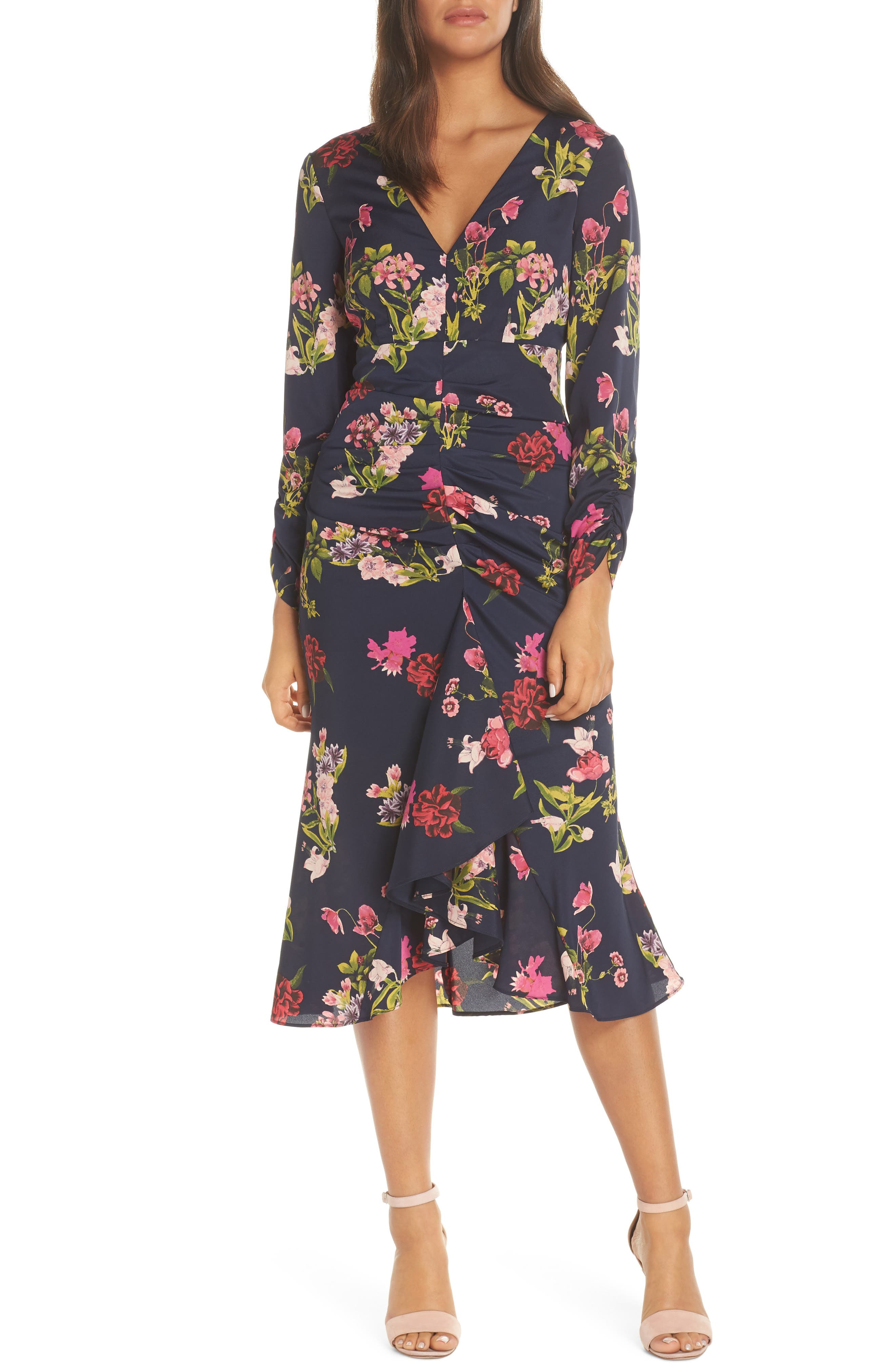 Eliza J Floral Ruched Midi Dress, Blue