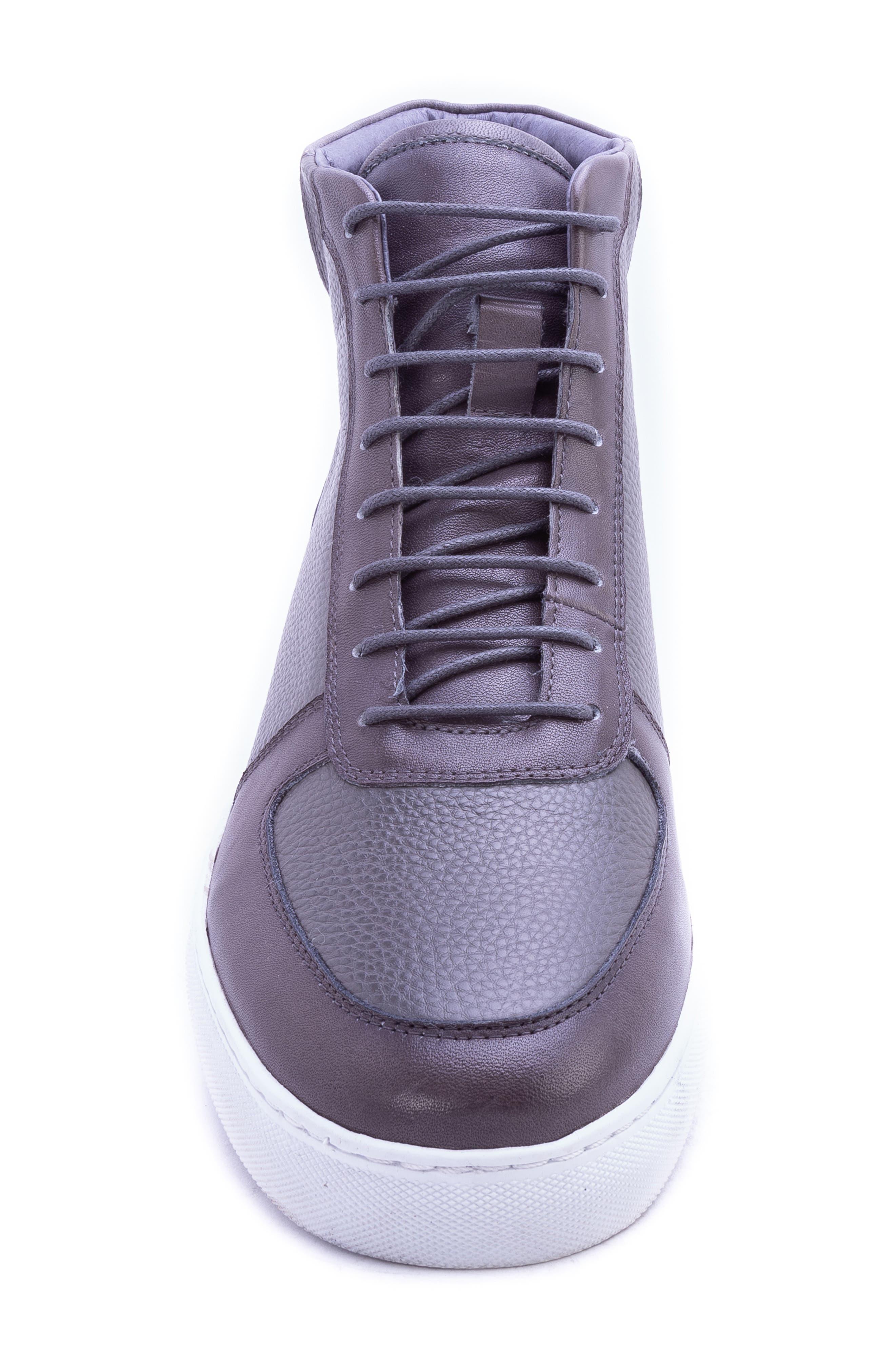 Tassel High Top Sneaker,                             Alternate thumbnail 4, color,                             GREY LEATHER