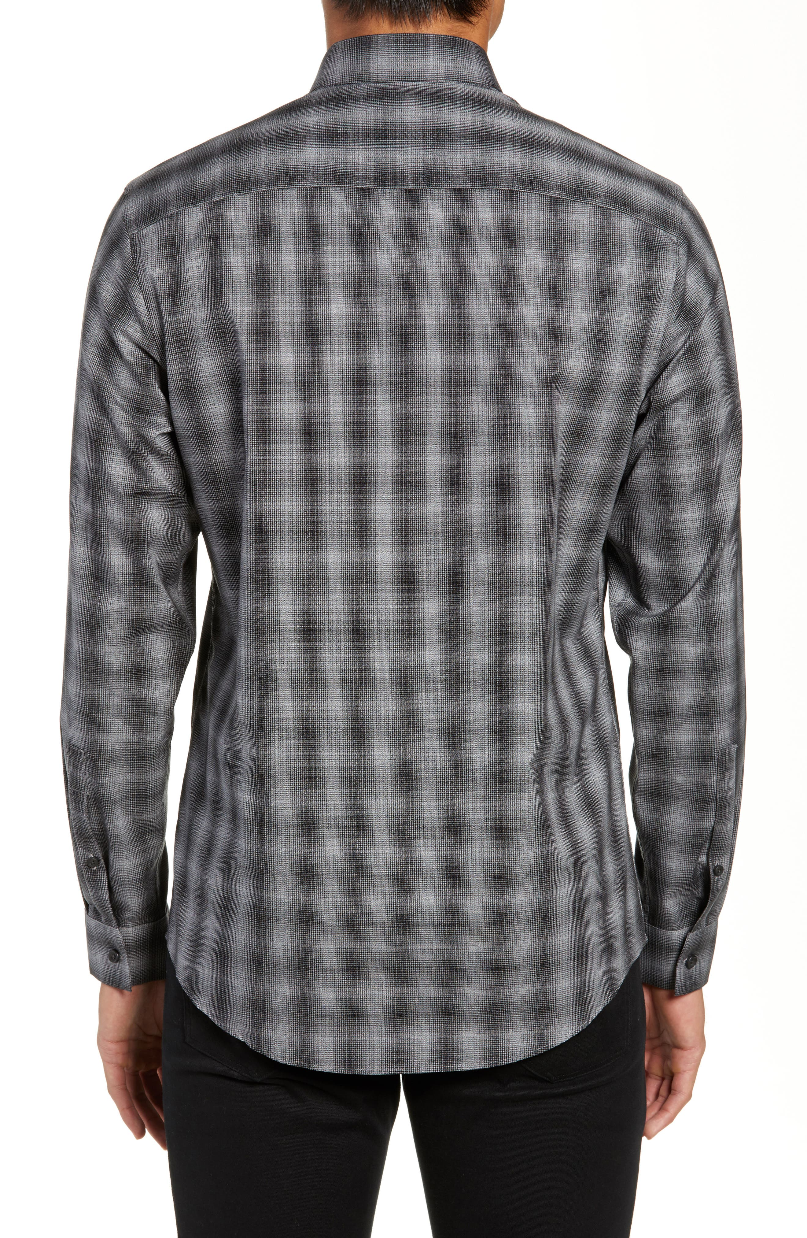 Mini Collar Nep Plaid Sport Shirt,                             Alternate thumbnail 3, color,                             BLACK GREY SHADOW PLAID