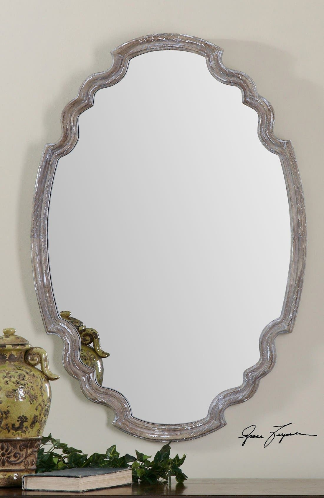 'Ludovica' Aged Finish Oval Wall Mirror,                             Alternate thumbnail 3, color,                             020