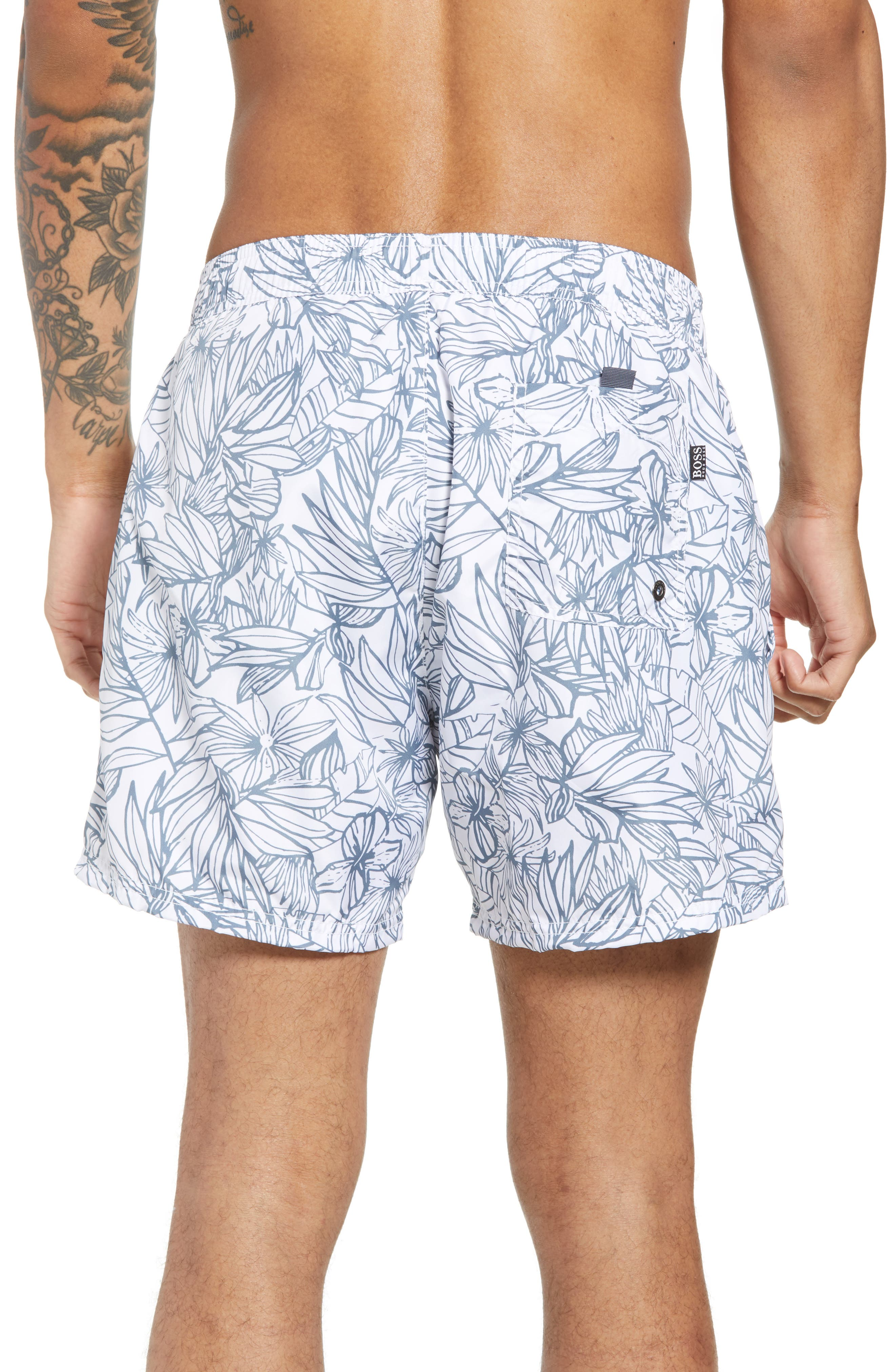 Needlefish Palm Swim Trunks,                             Alternate thumbnail 2, color,                             WHITE