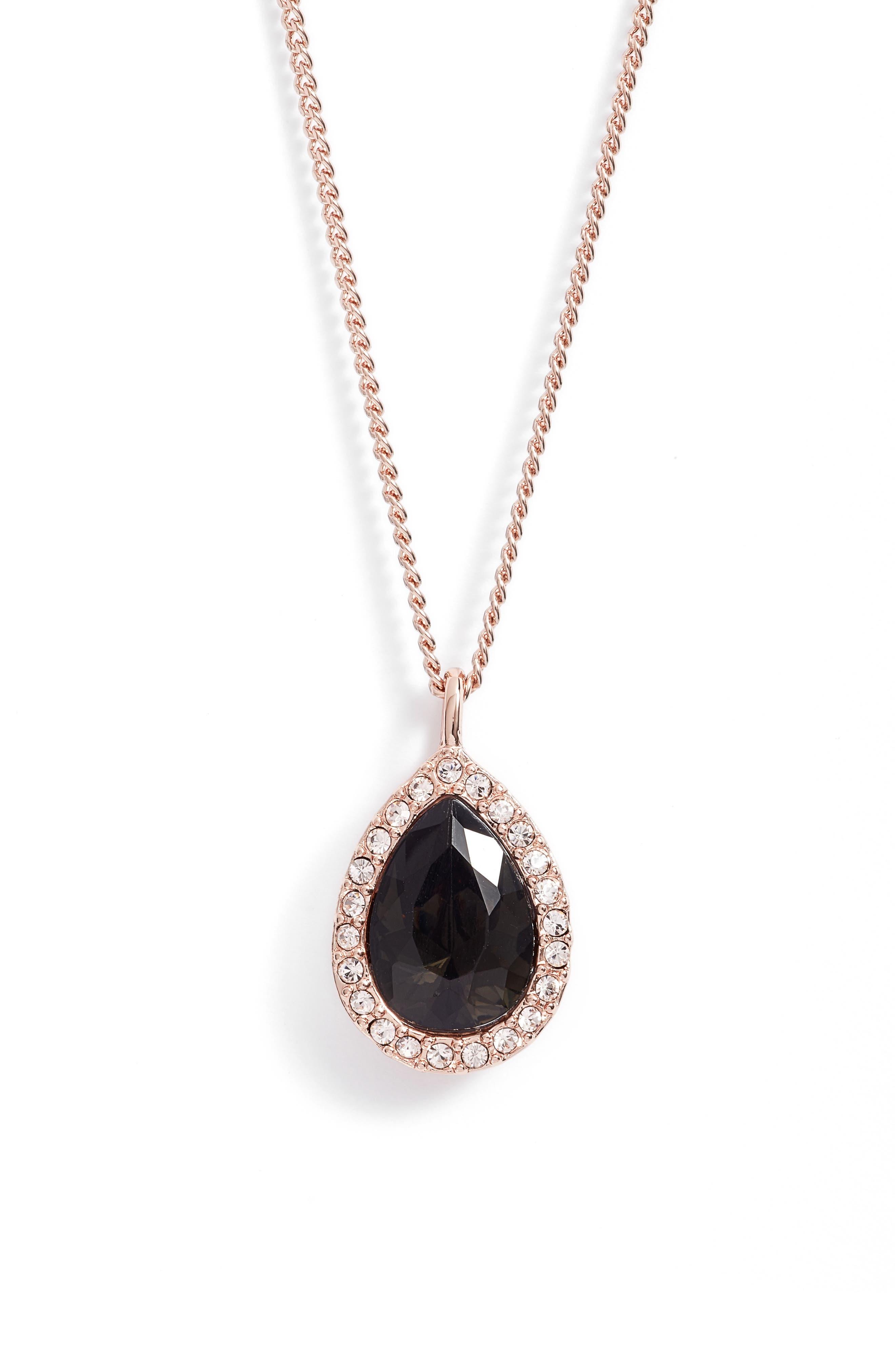 Pavé Pear Pendant Necklace,                         Main,                         color, 020