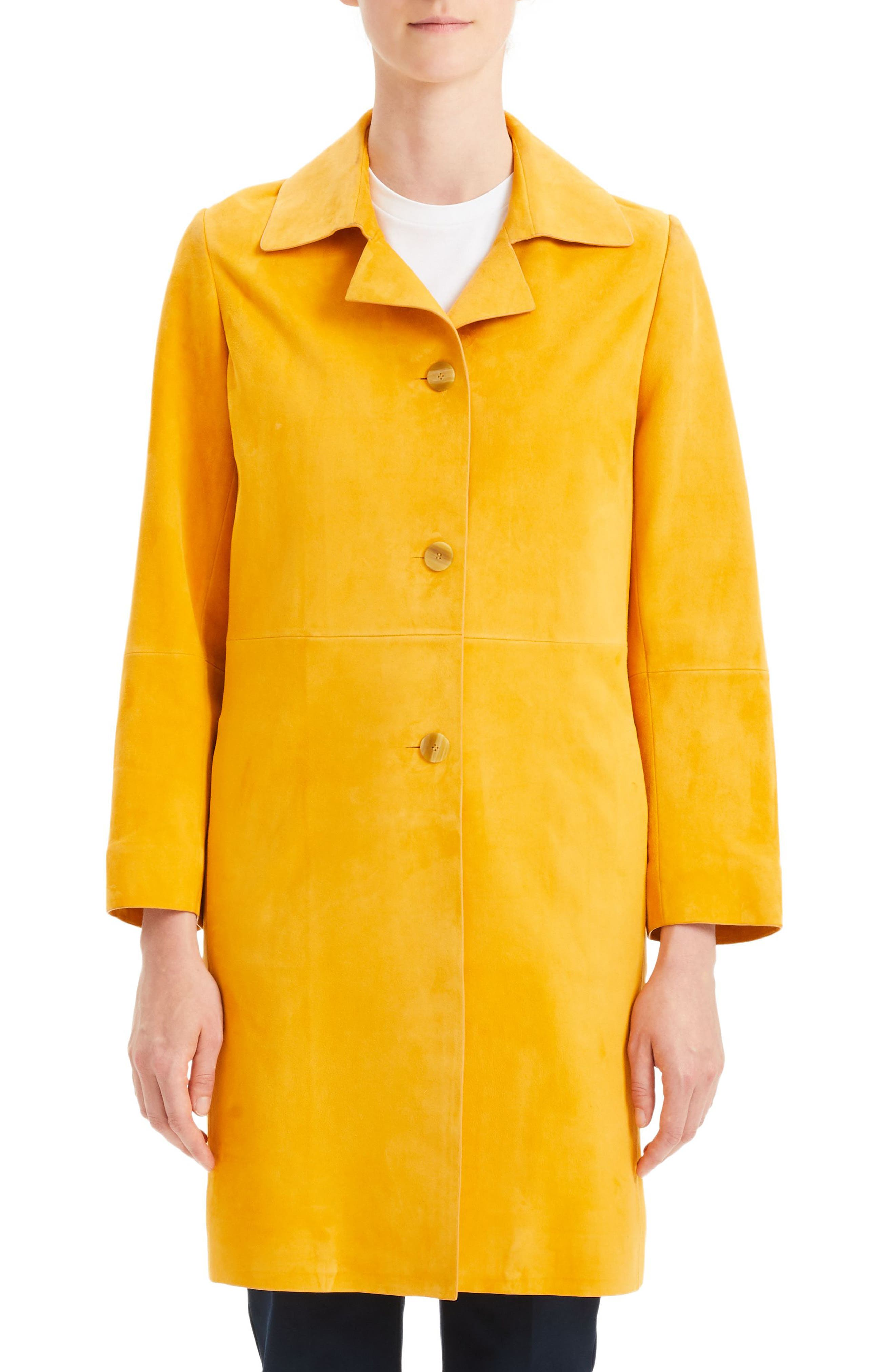 THEORY,                             Piazza Leather Coat,                             Main thumbnail 1, color,                             ZEST