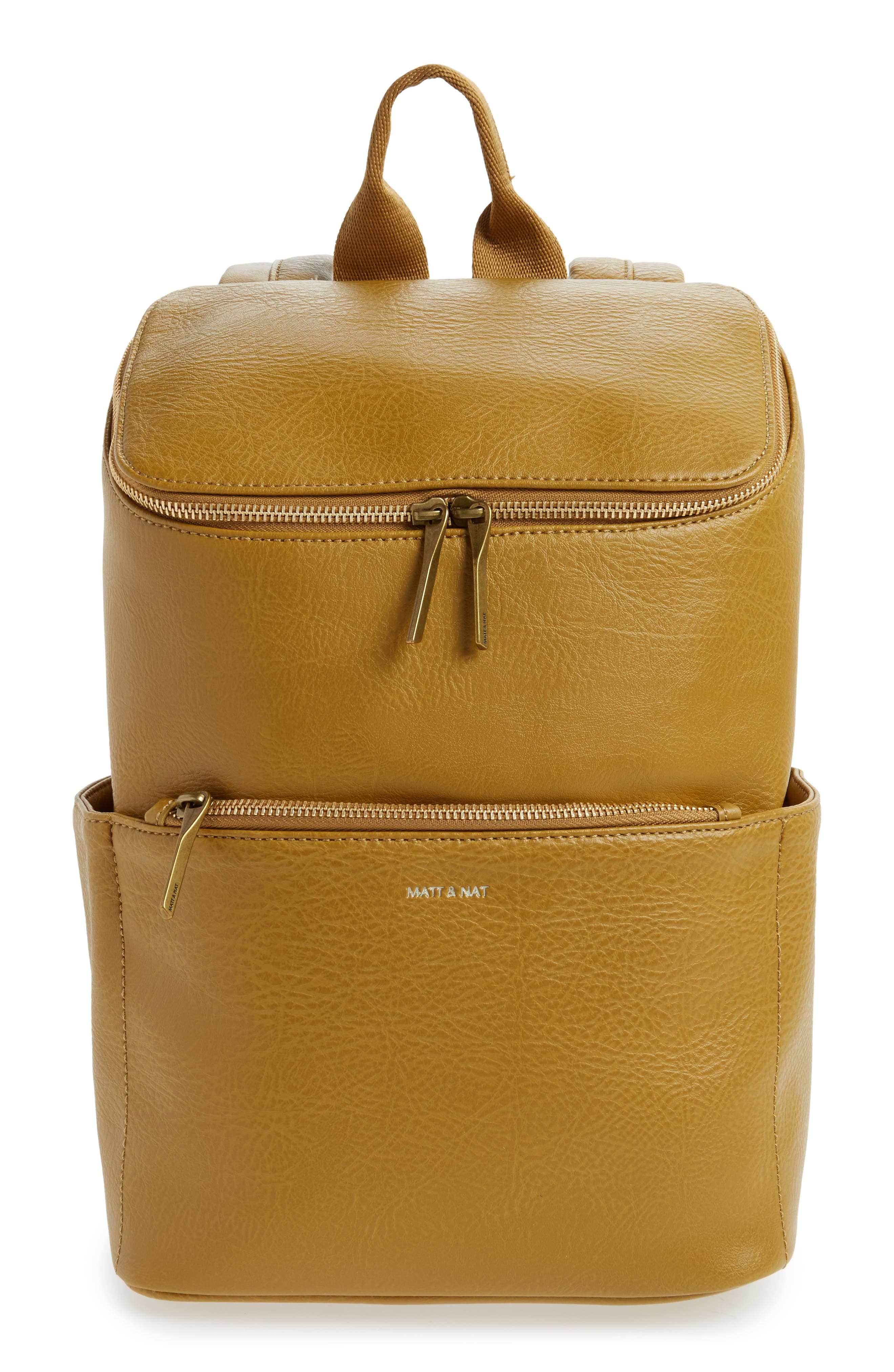 'Brave' Faux Leather Backpack,                             Main thumbnail 4, color,
