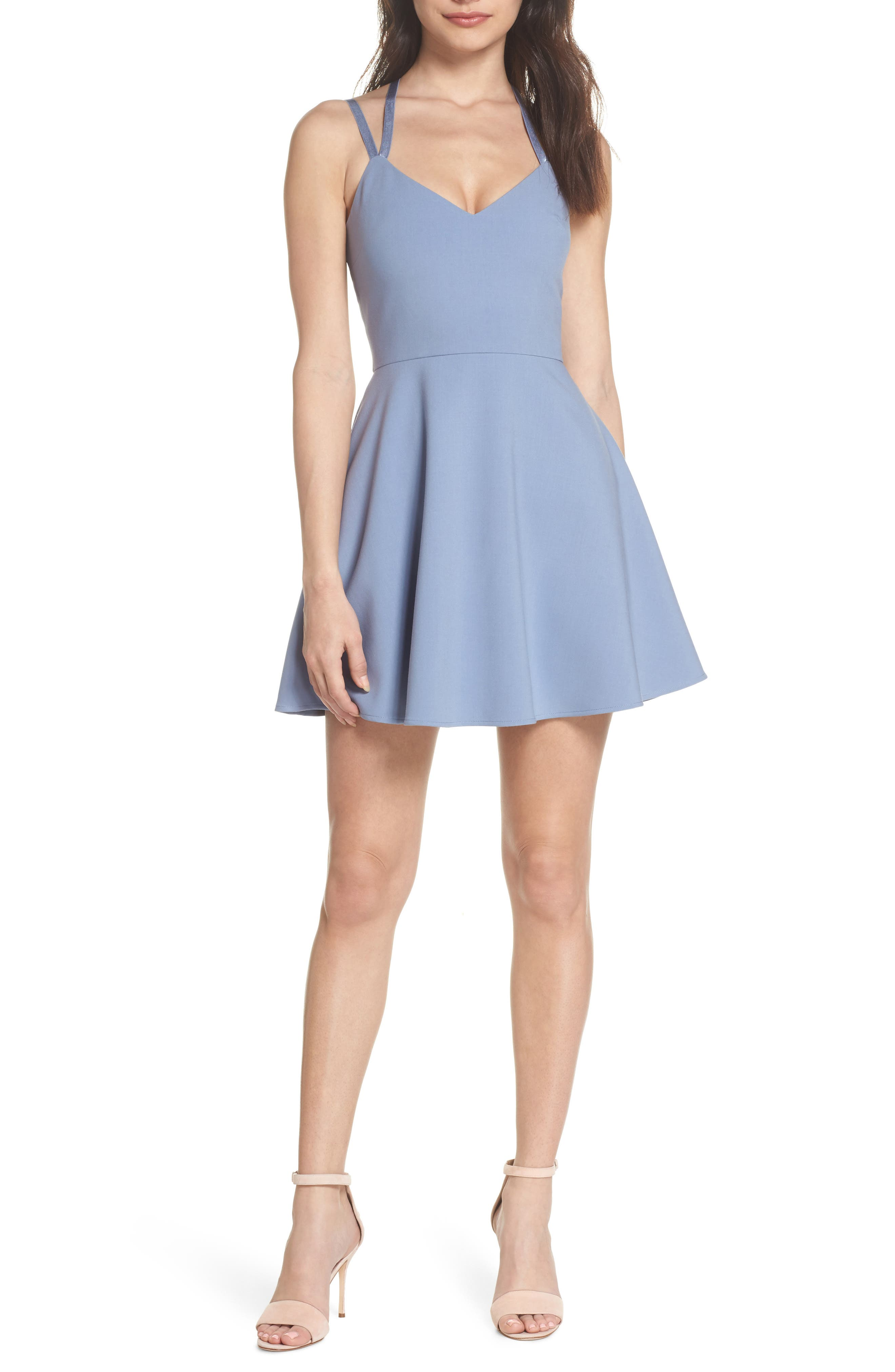 Whisper Light Fit & Flare Dress,                             Main thumbnail 1, color,                             400