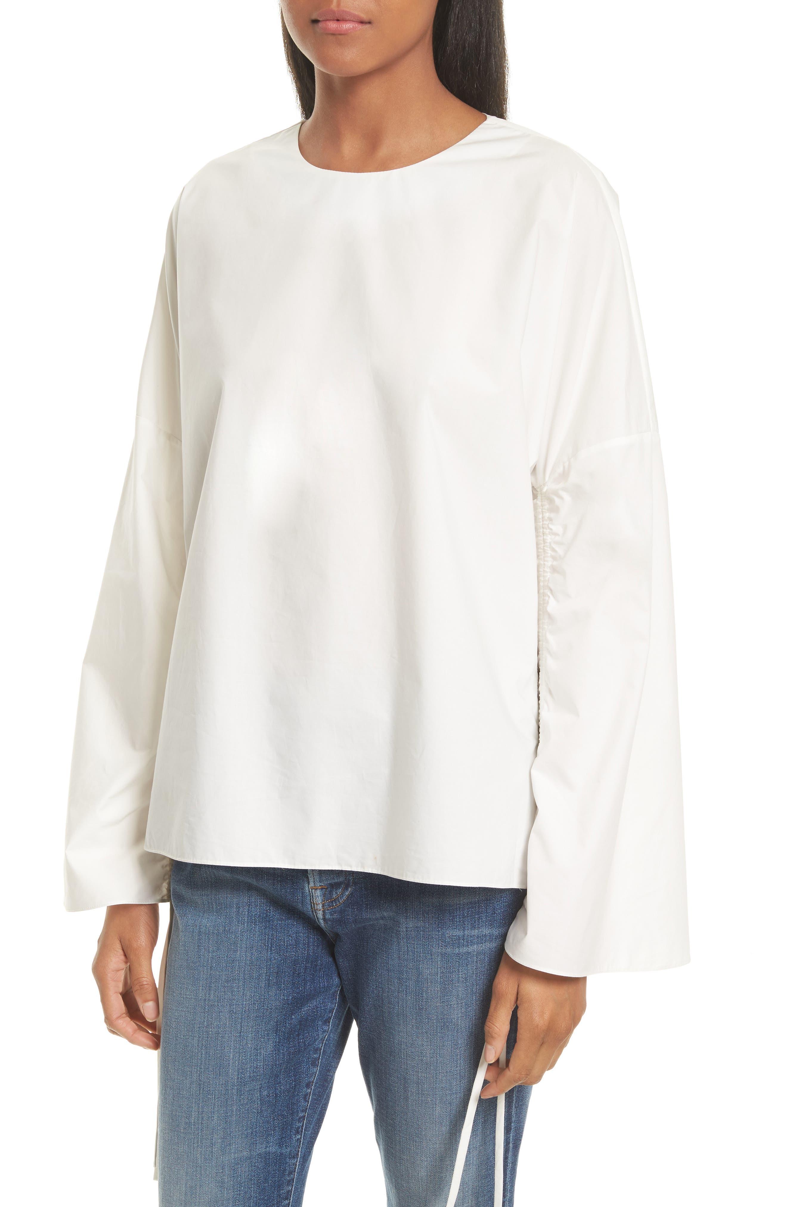 TIBI,                             Bell Sleeve Cotton Poplin Top,                             Alternate thumbnail 4, color,                             104