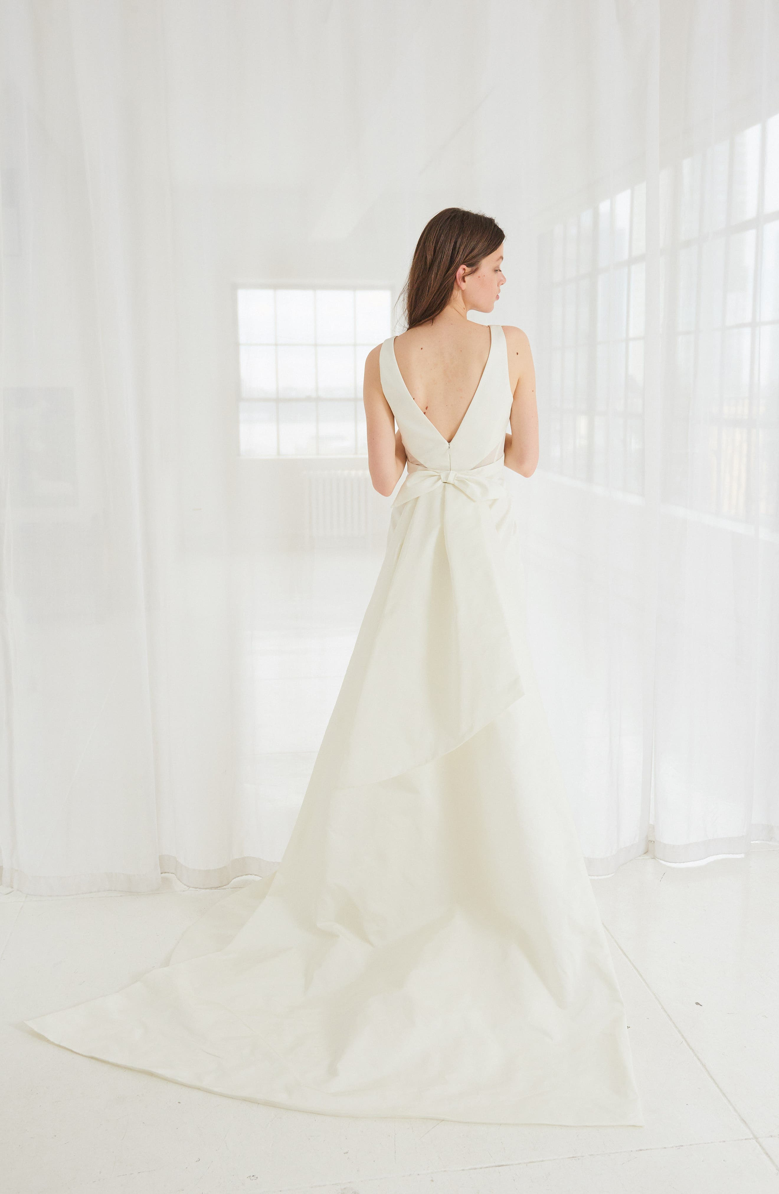 Cooper Fit & Flare Gown with Detachable Train,                             Alternate thumbnail 2, color,                             IVORY