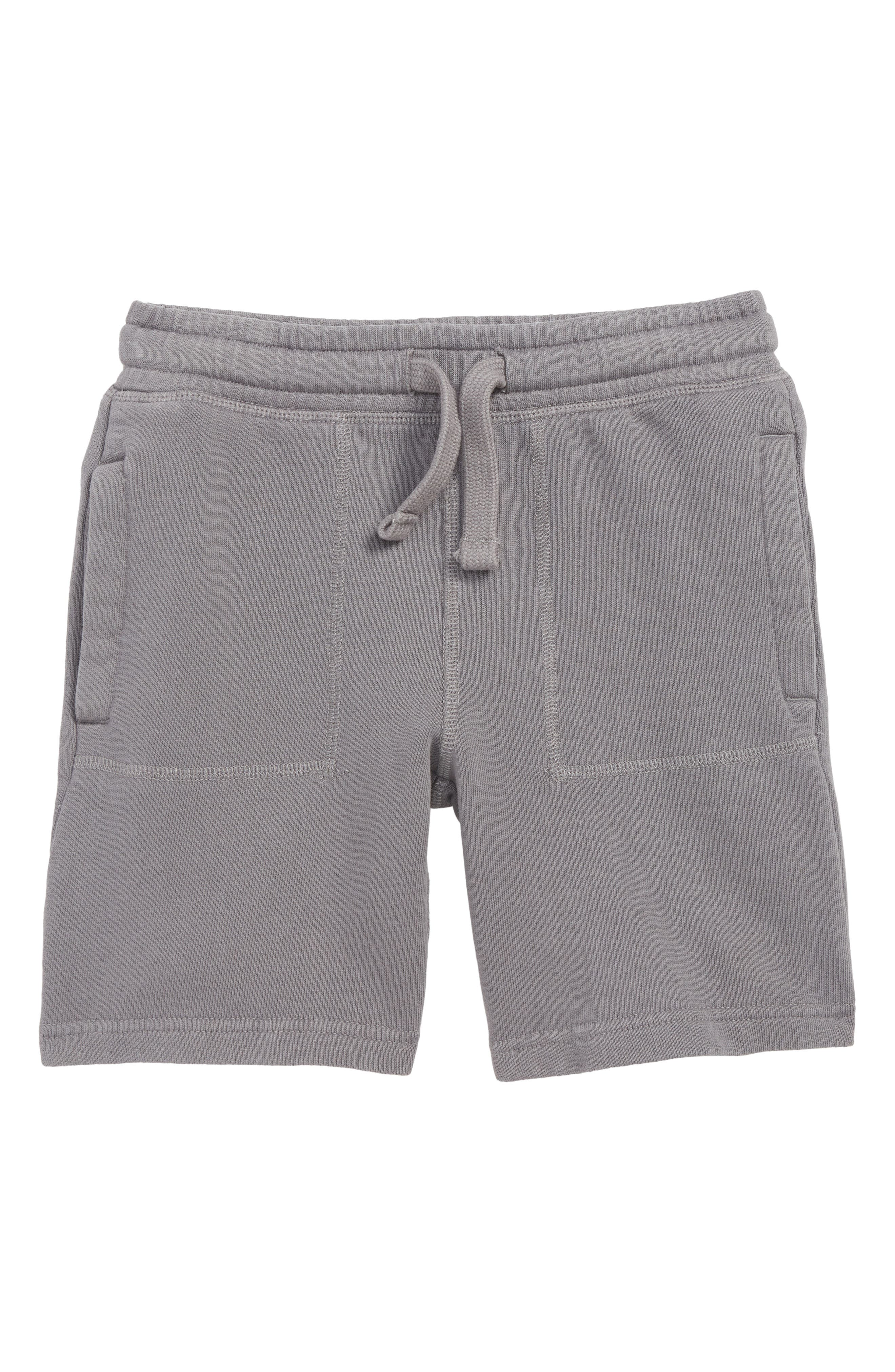 MINI BODEN Garment Dyed Sweat Shorts, Main, color, PEWTER GREY
