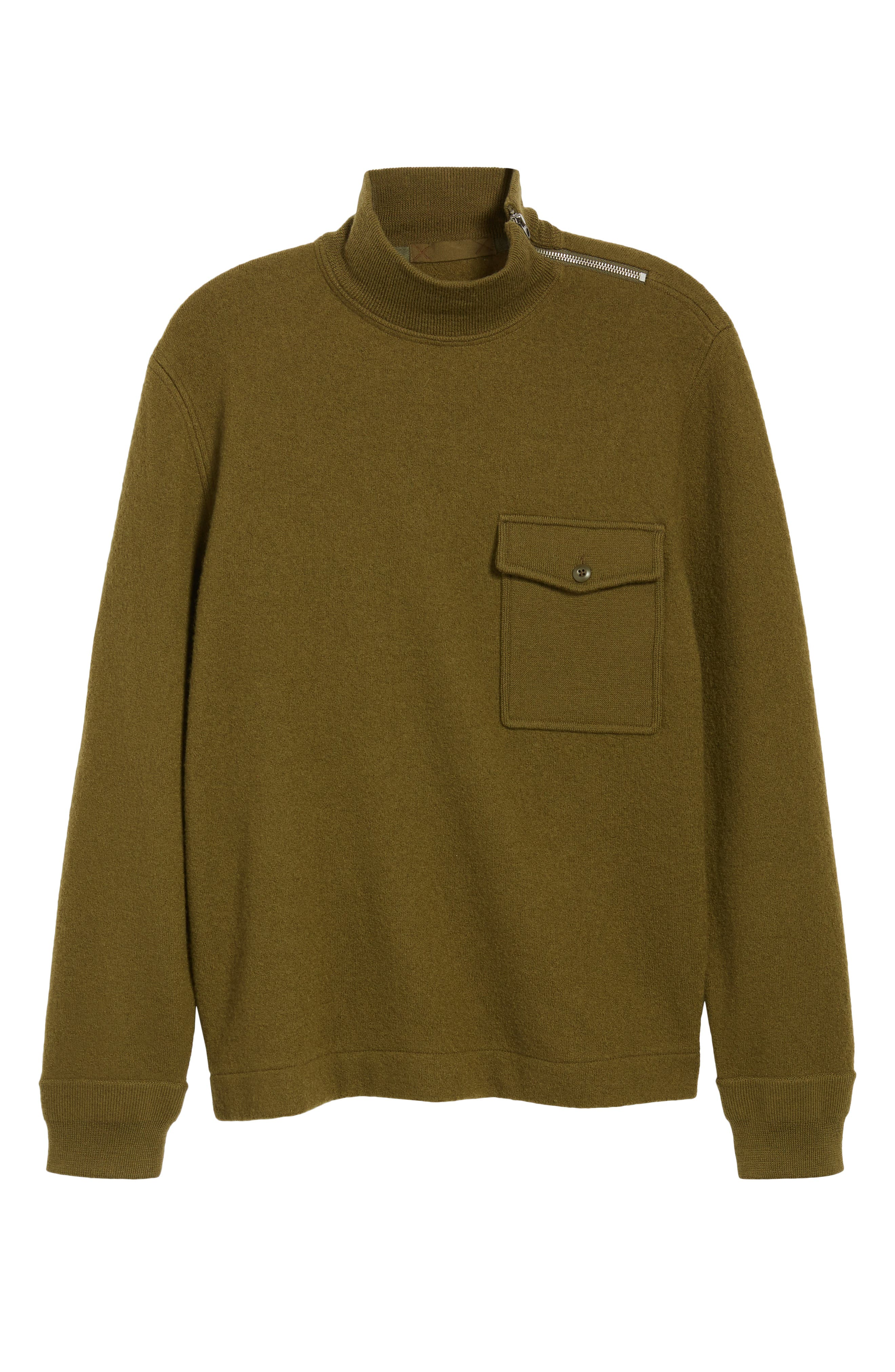 Wallace & Barnes Felted Merino Wool Mock Neck Pullover,                             Alternate thumbnail 6, color,                             ORCHARD GREEN