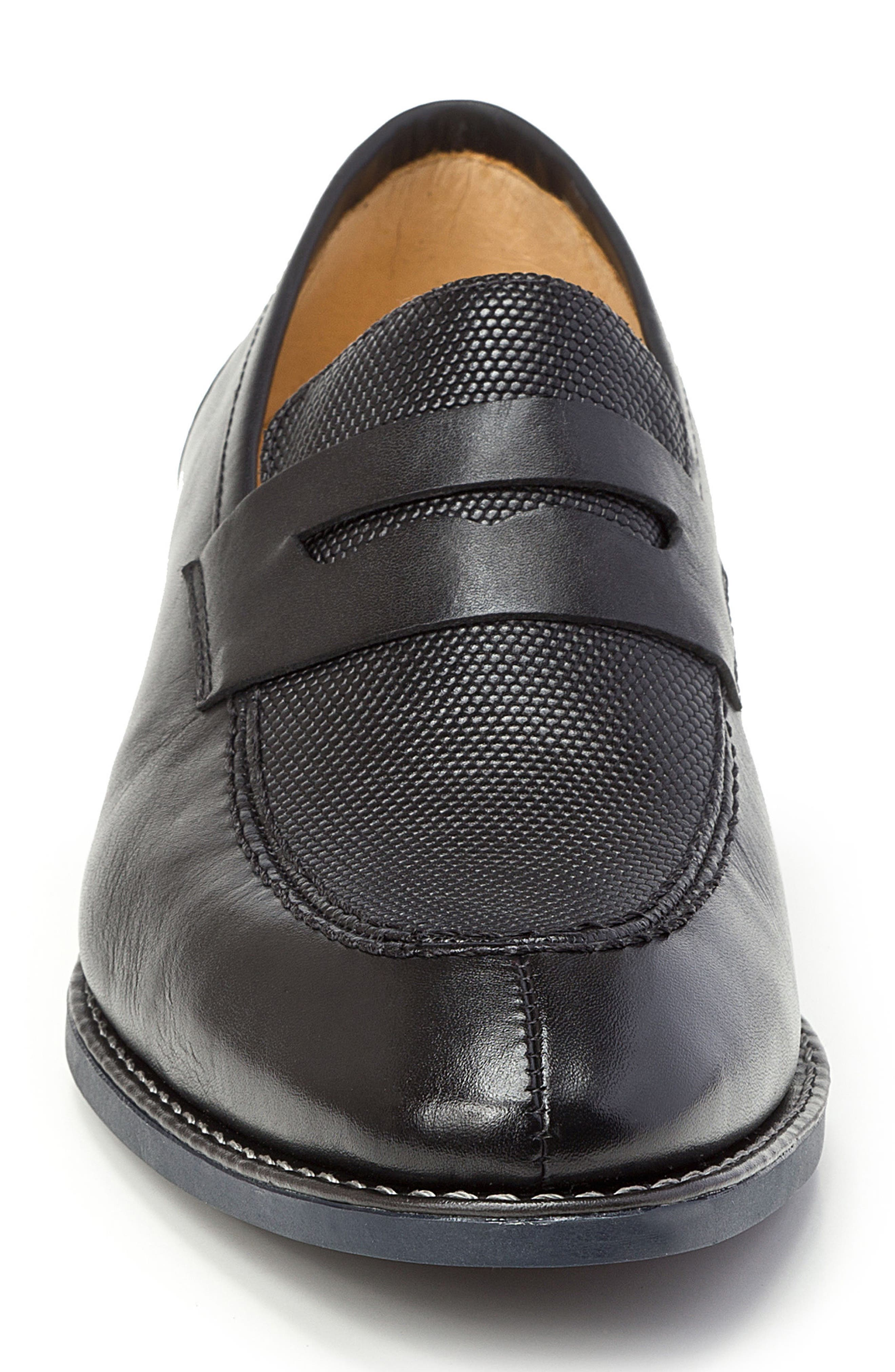 Maestro Penny Loafer,                             Alternate thumbnail 4, color,                             BLACK LEATHER
