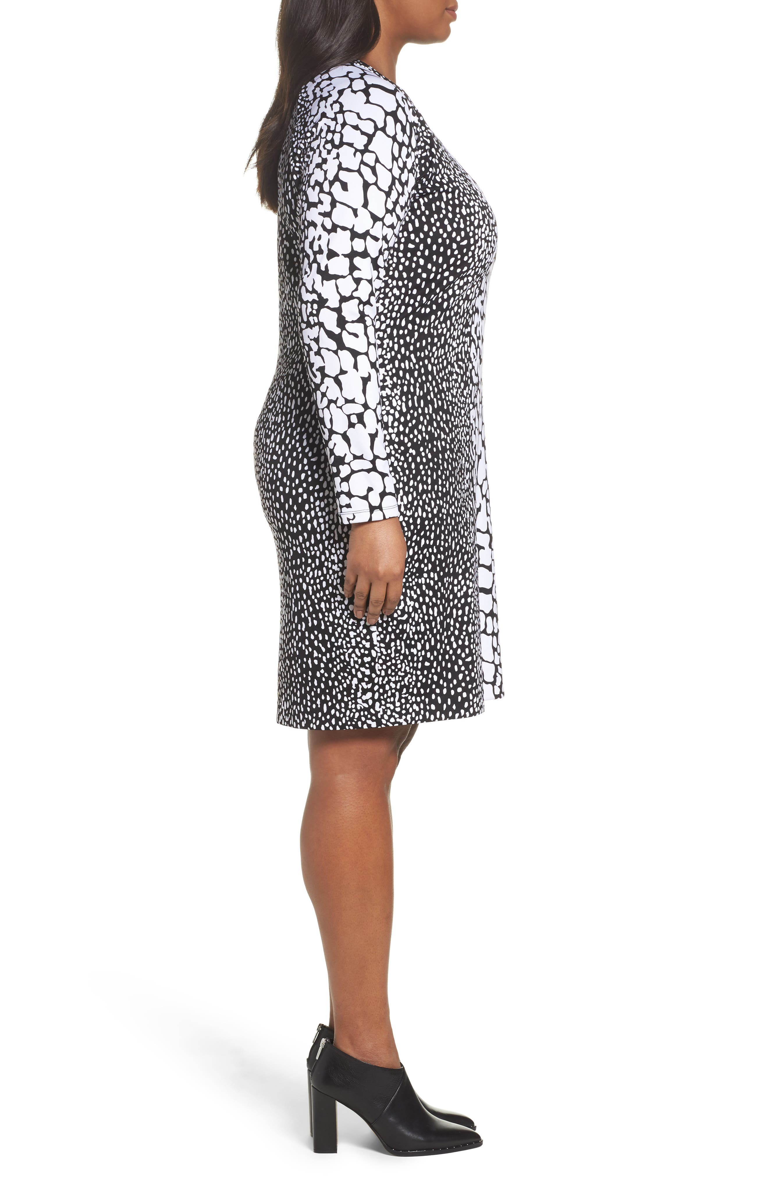 Croc Print Ponte Dress,                             Alternate thumbnail 3, color,