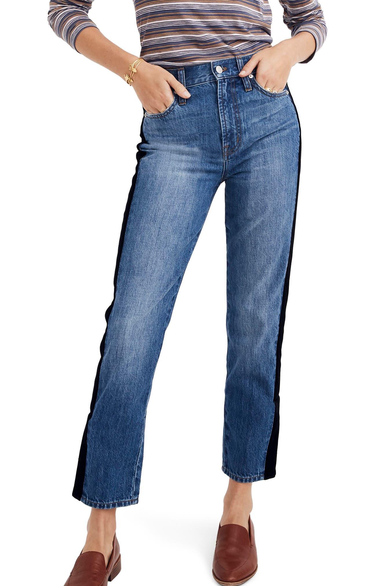 The Perfect Vintage Velvet Tux Stripe Jeans,                             Main thumbnail 1, color,                             BANBURY WASH