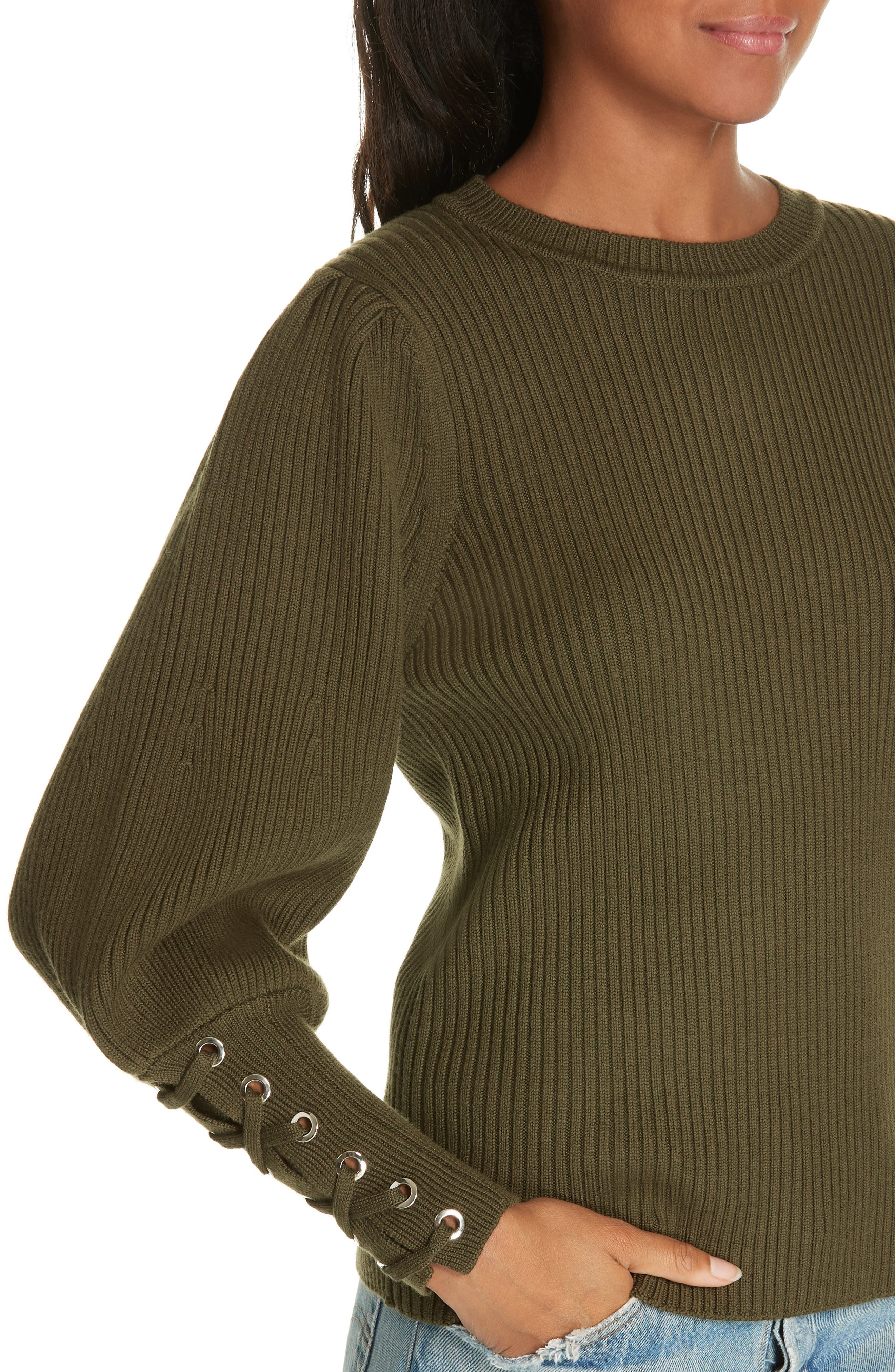 Zelie Lace-Up Cuff Wool Sweater,                             Alternate thumbnail 4, color,                             KAKI