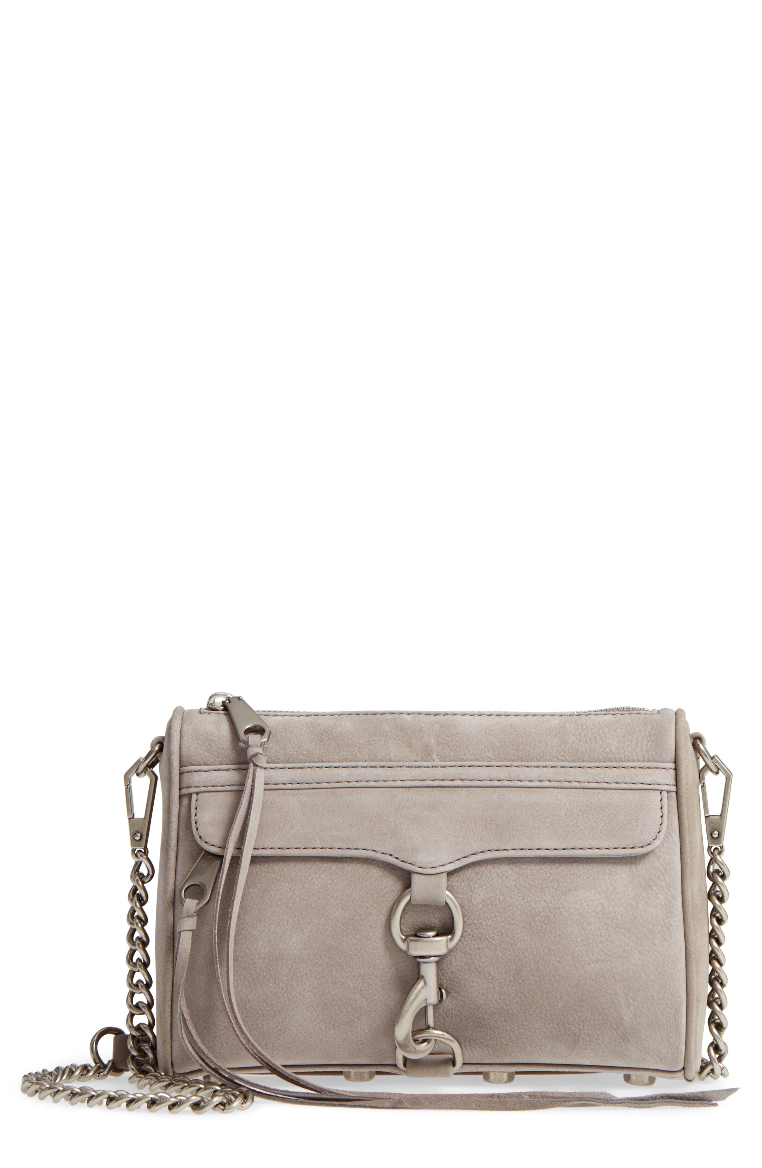 Mini MAC Nubuck Convertible Crossbody Bag,                             Main thumbnail 1, color,                             GREY
