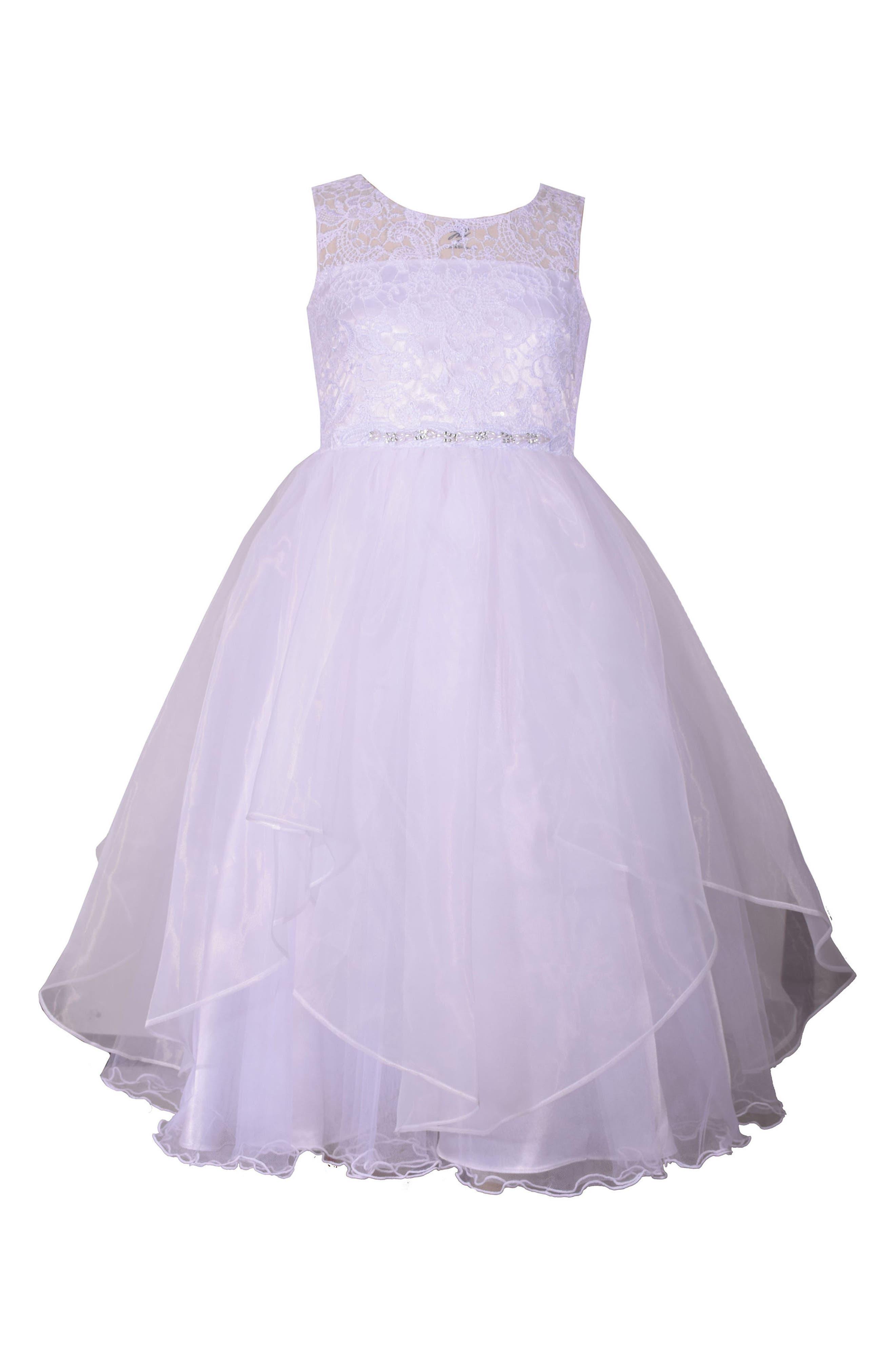 Lace Bodice First Communion Dress,                         Main,                         color, 100