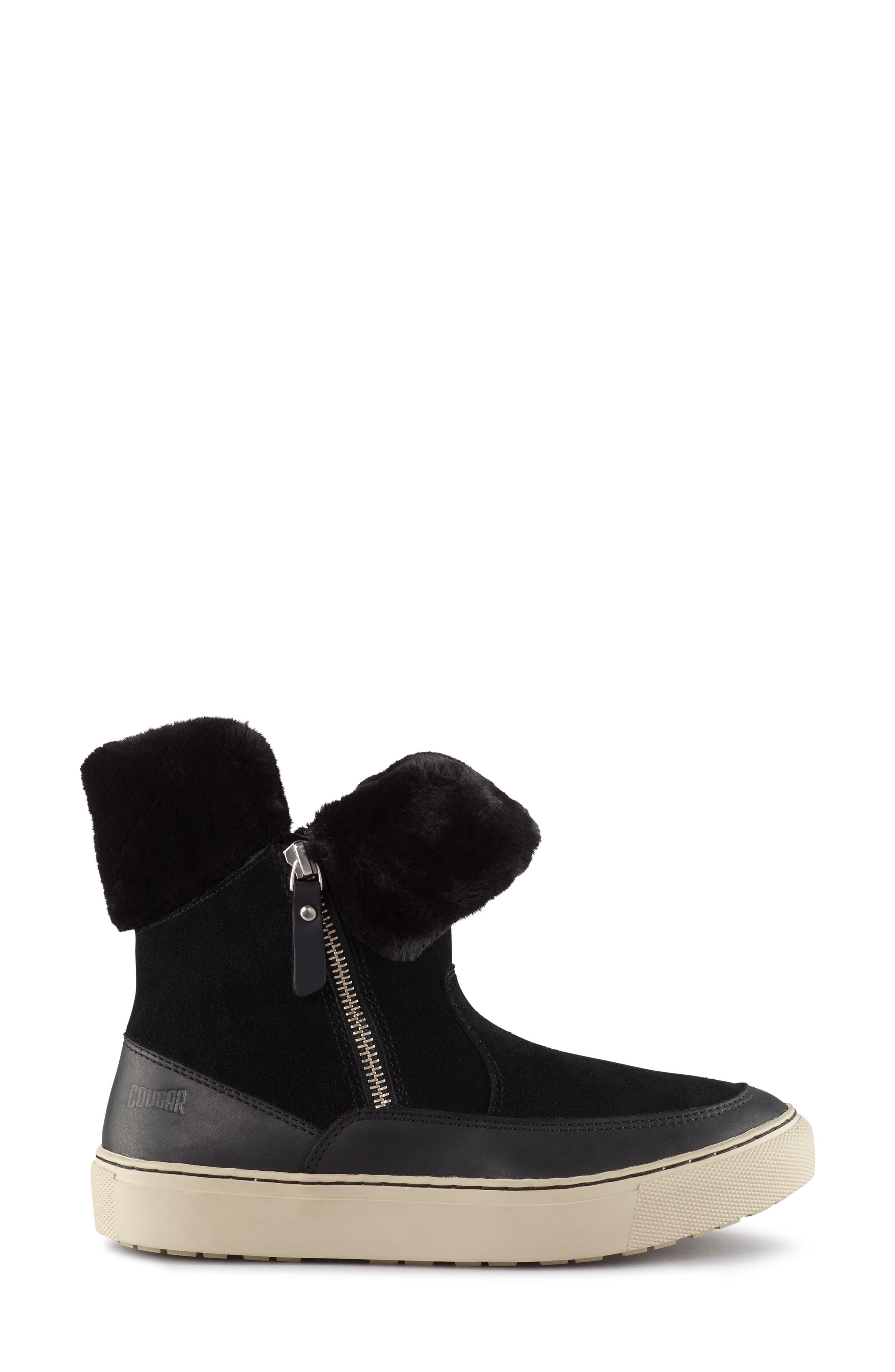 Dresden Waterproof Sneaker Boot with Faux Fur Trim,                             Alternate thumbnail 7, color,                             001