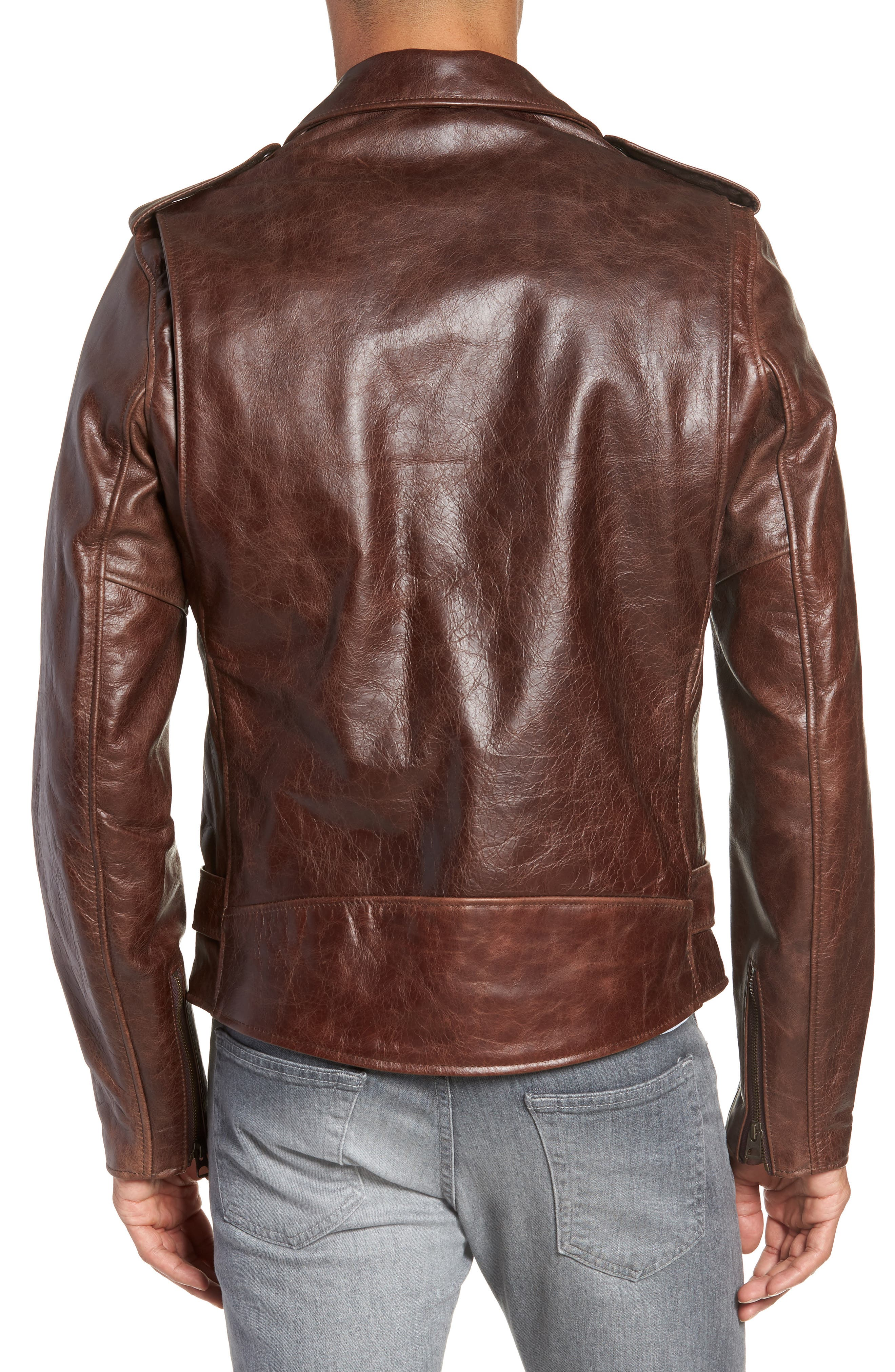 Waxy Cowhide Leather Motorcycle Jacket,                             Alternate thumbnail 3, color,                             BROWN