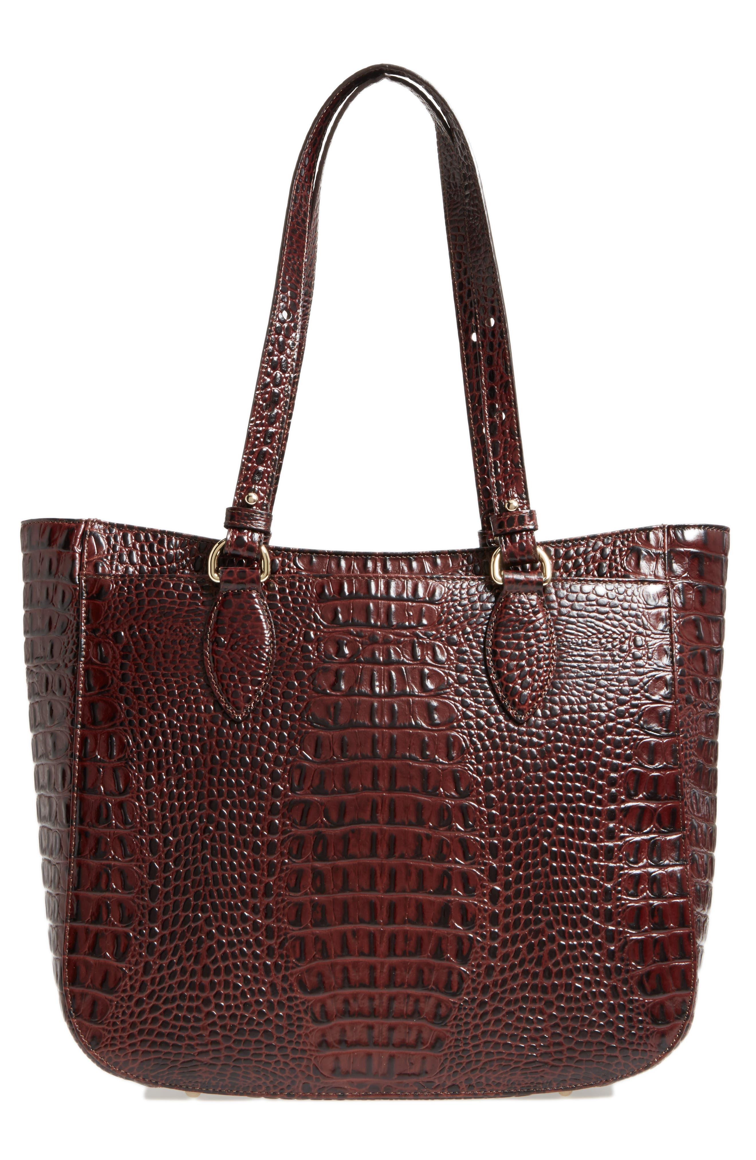 Medium Red Verona - Lena Leather Tote,                             Alternate thumbnail 3, color,                             610