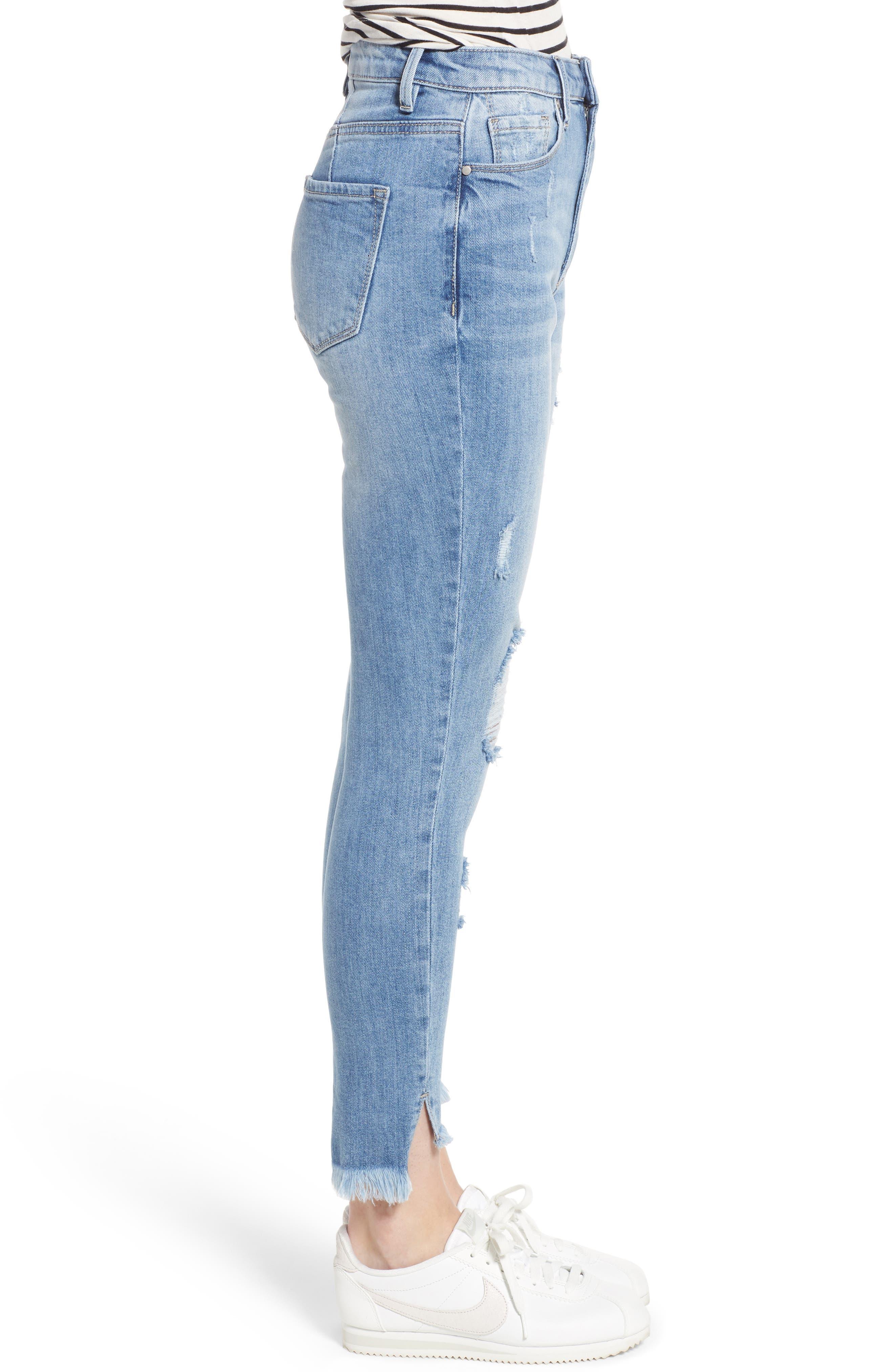 Ripped High Waist Step Hem Skinny Jeans,                             Alternate thumbnail 3, color,                             400