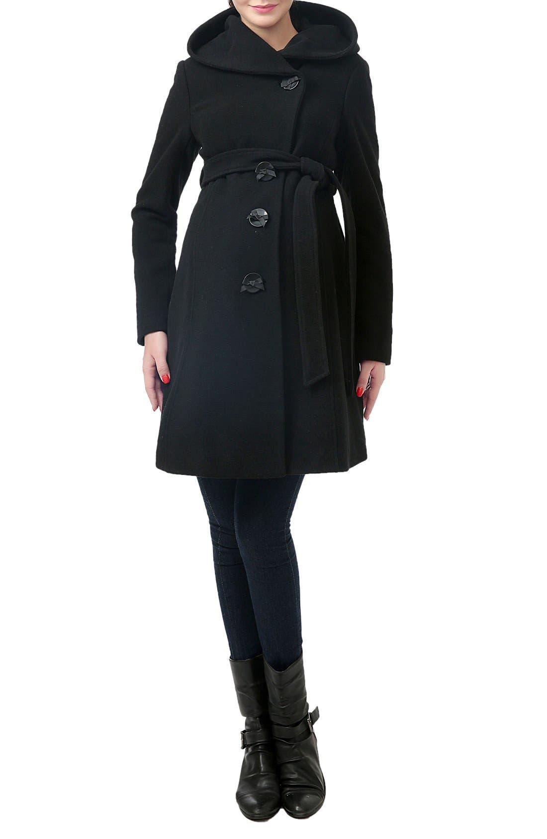 KIMI AND KAI 'Lora' Wool Blend Maternity Coat, Main, color, BLACK