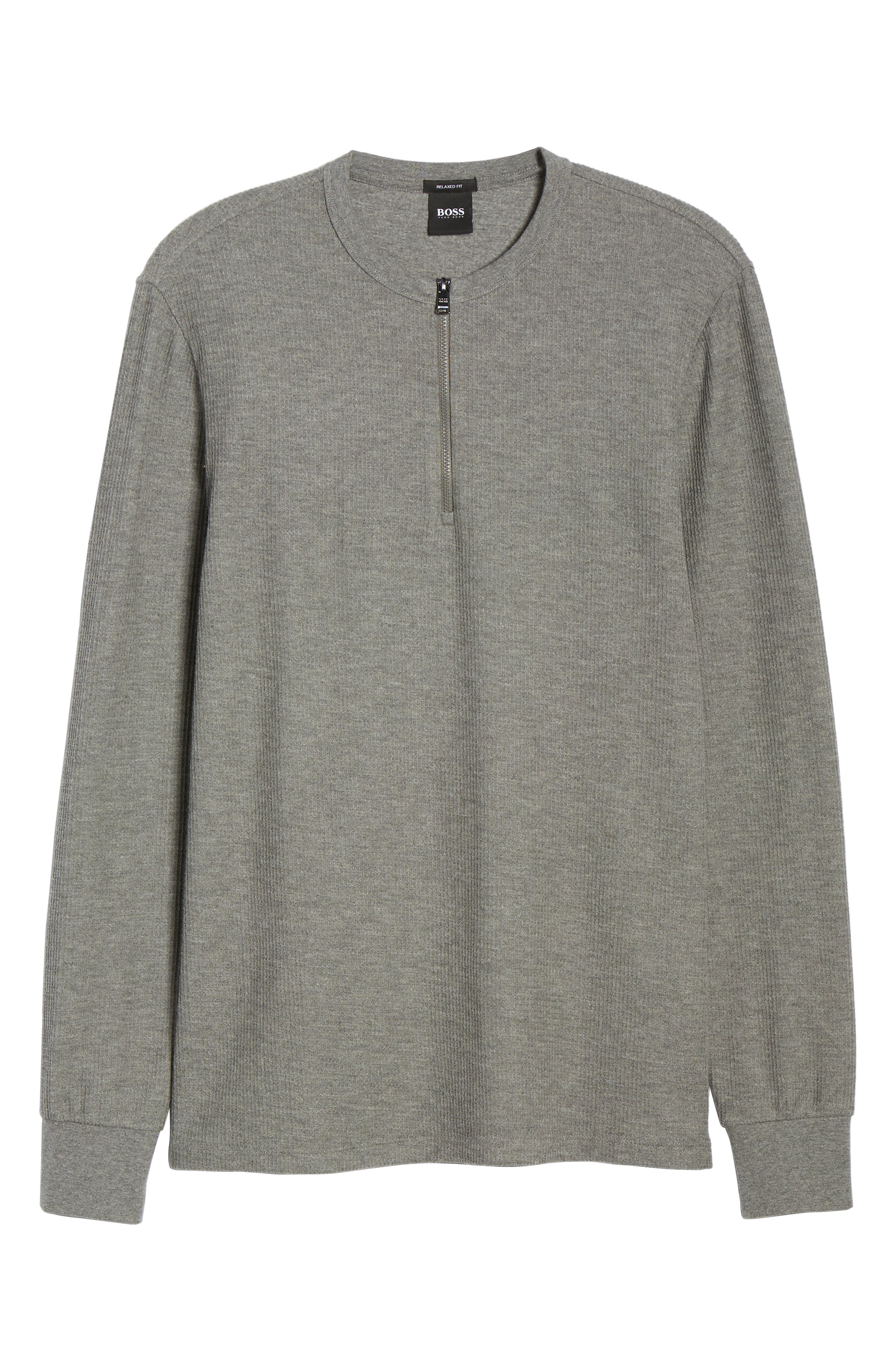 Textor Quarter Zip Thermal T-Shirt,                             Alternate thumbnail 6, color,                             GREY