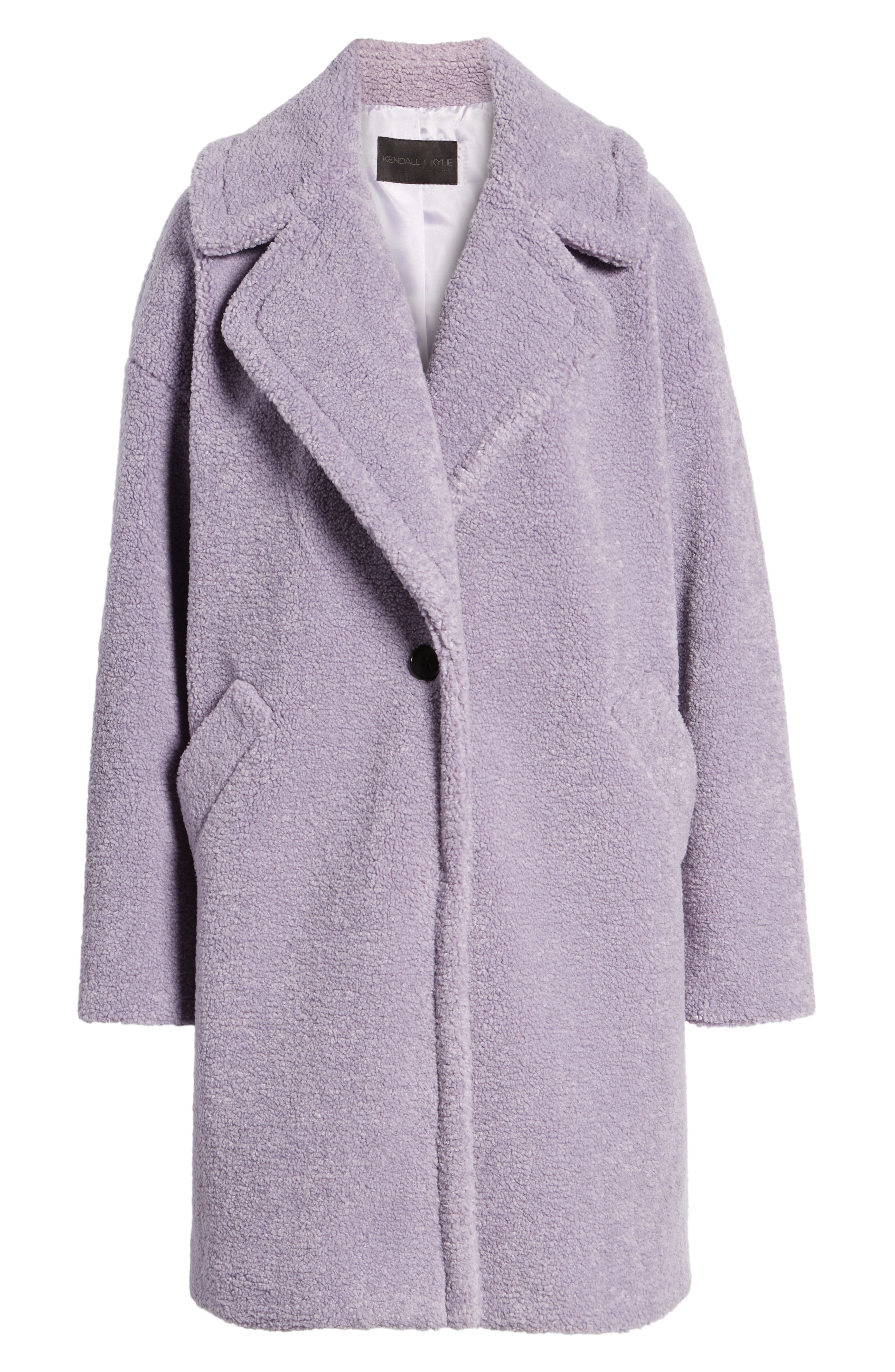 Faux Fur Teddy Coat,                             Alternate thumbnail 5, color,                             LILAC