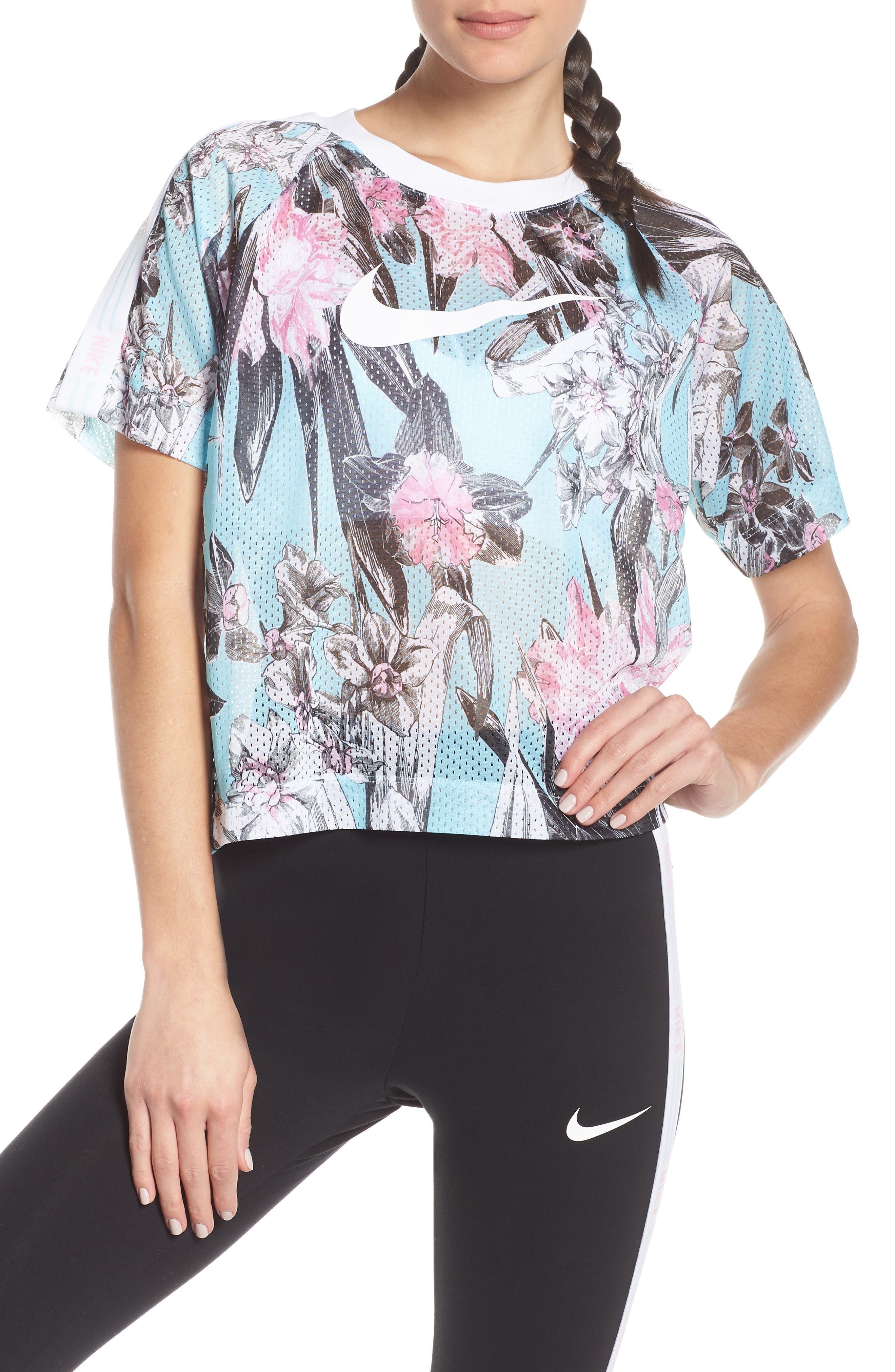 Sportswear Floral Print Mesh Top,                             Main thumbnail 1, color,                             TOPAZ MIST/ WHITE