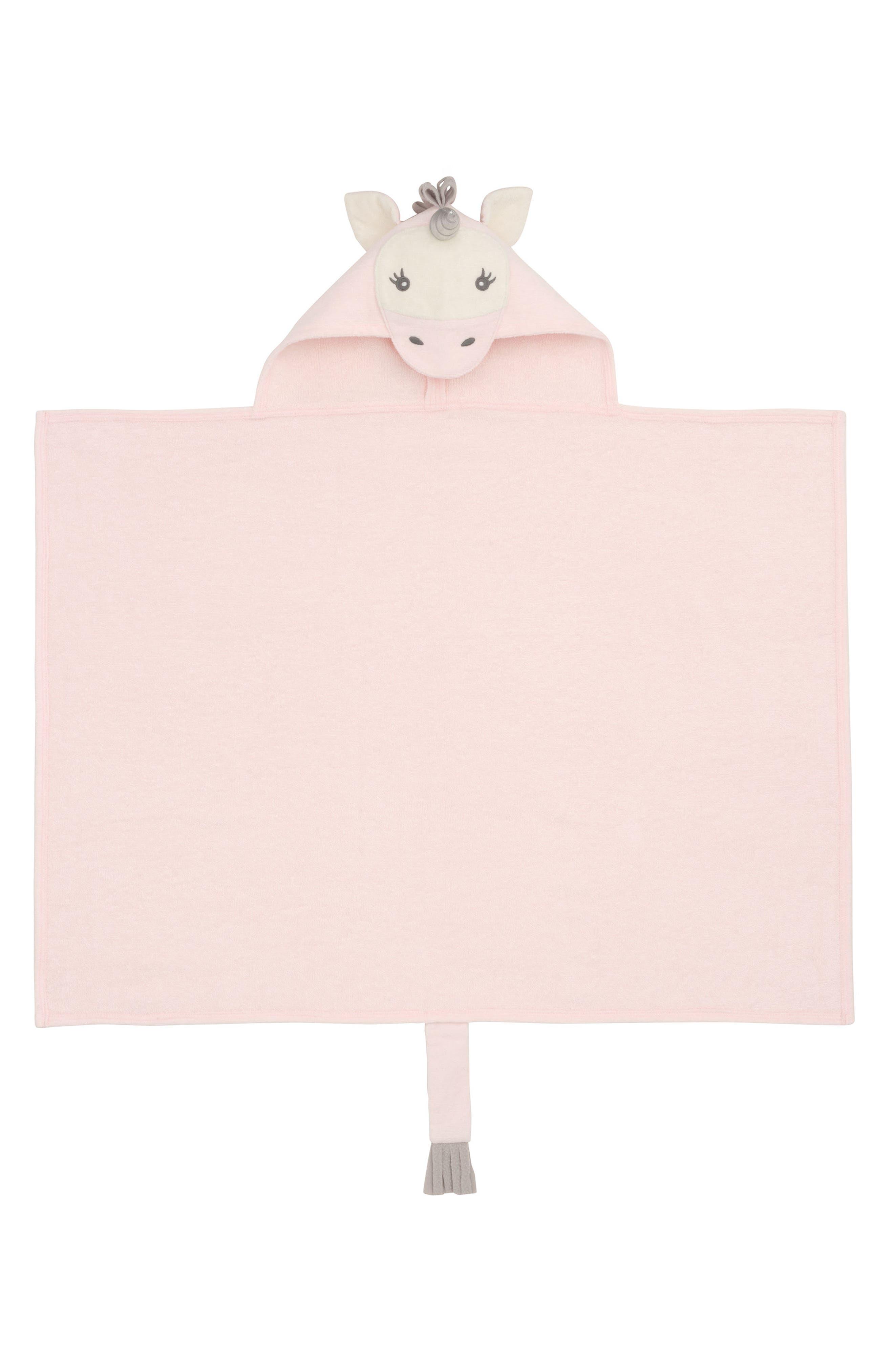 Terry Velour Hooded Unicorn Towel,                             Alternate thumbnail 2, color,                             UNICORN