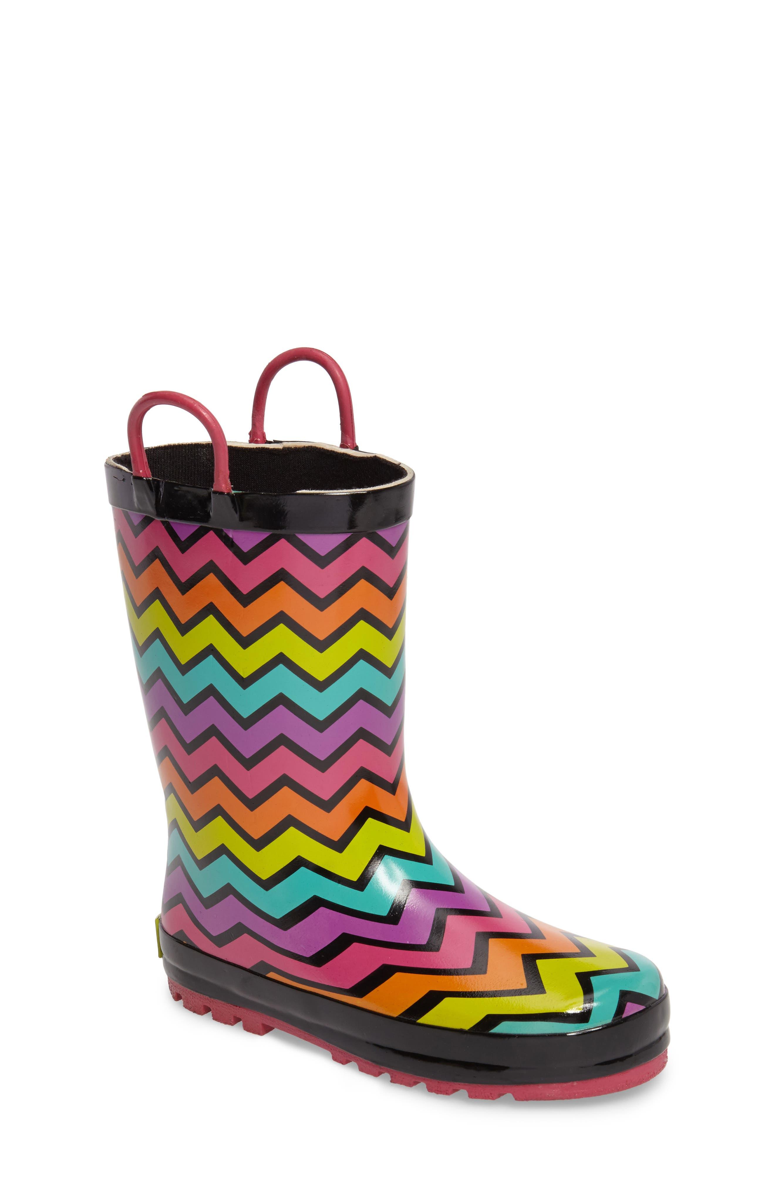 Funny Stripe Rain Boot,                             Main thumbnail 1, color,                             001