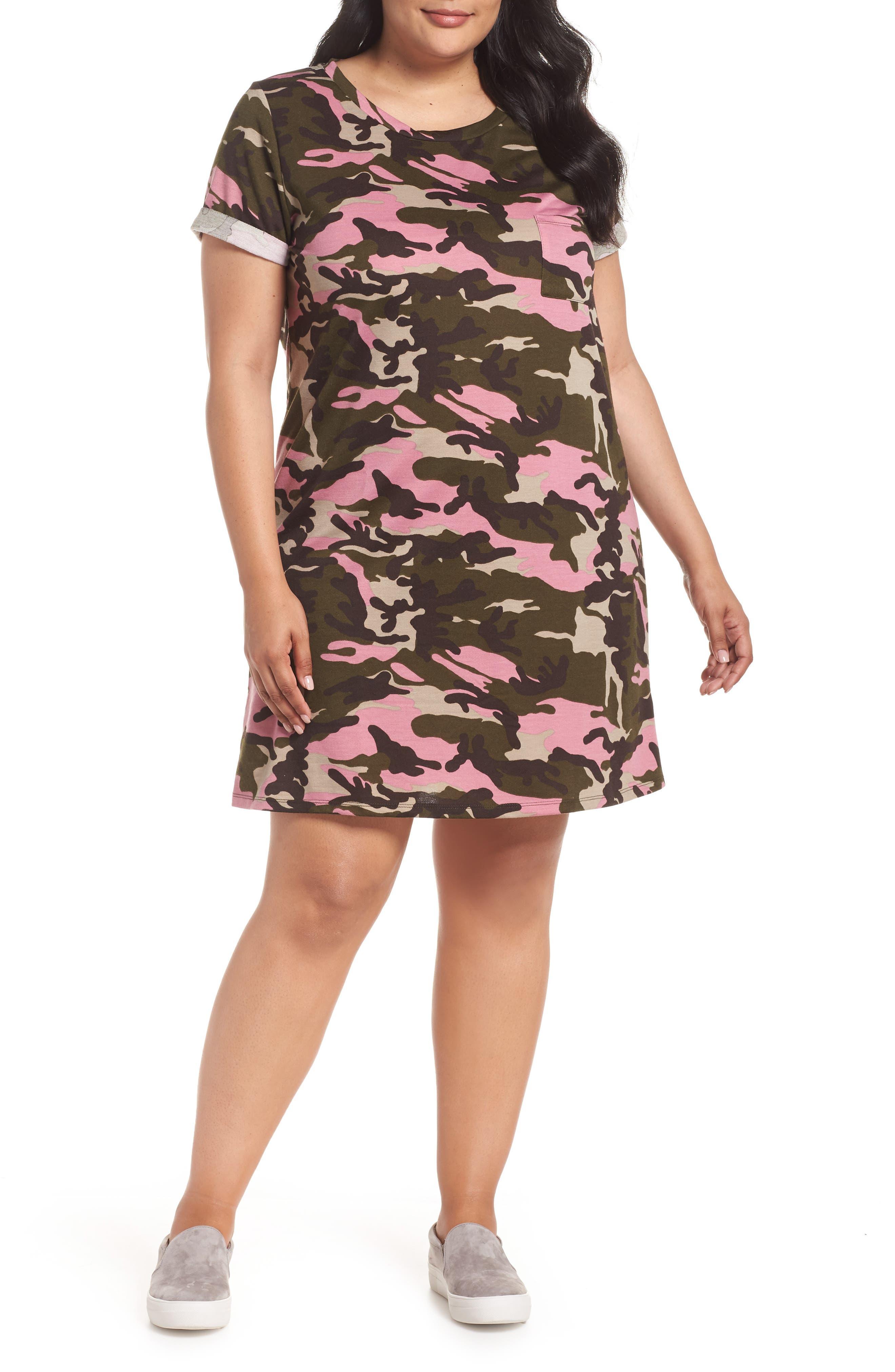 Camo T-Shirt Dress,                             Main thumbnail 1, color,                             PINK CAMO