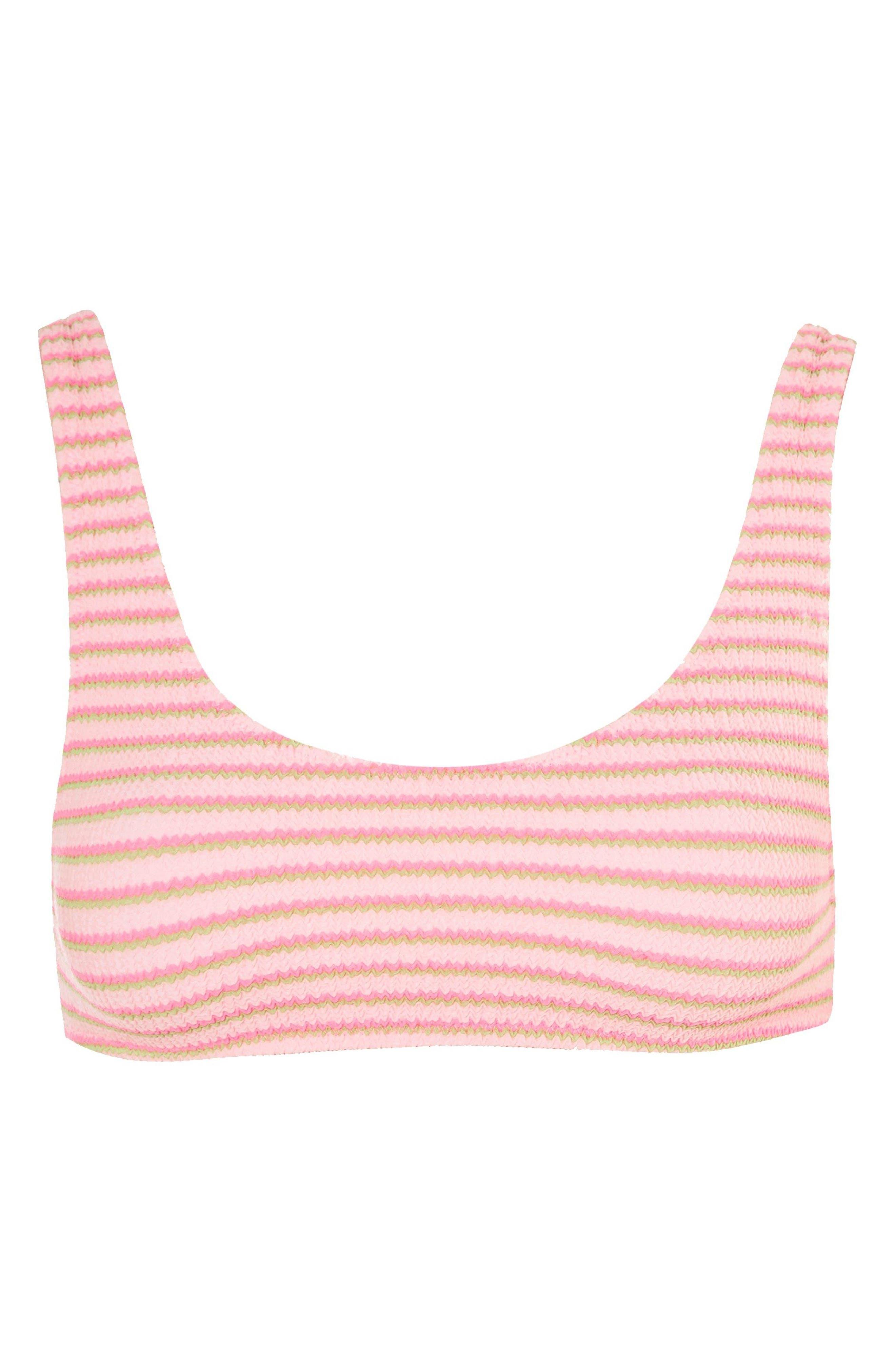 Pastel Stripe Shirred Bikini Top,                             Alternate thumbnail 3, color,                             650