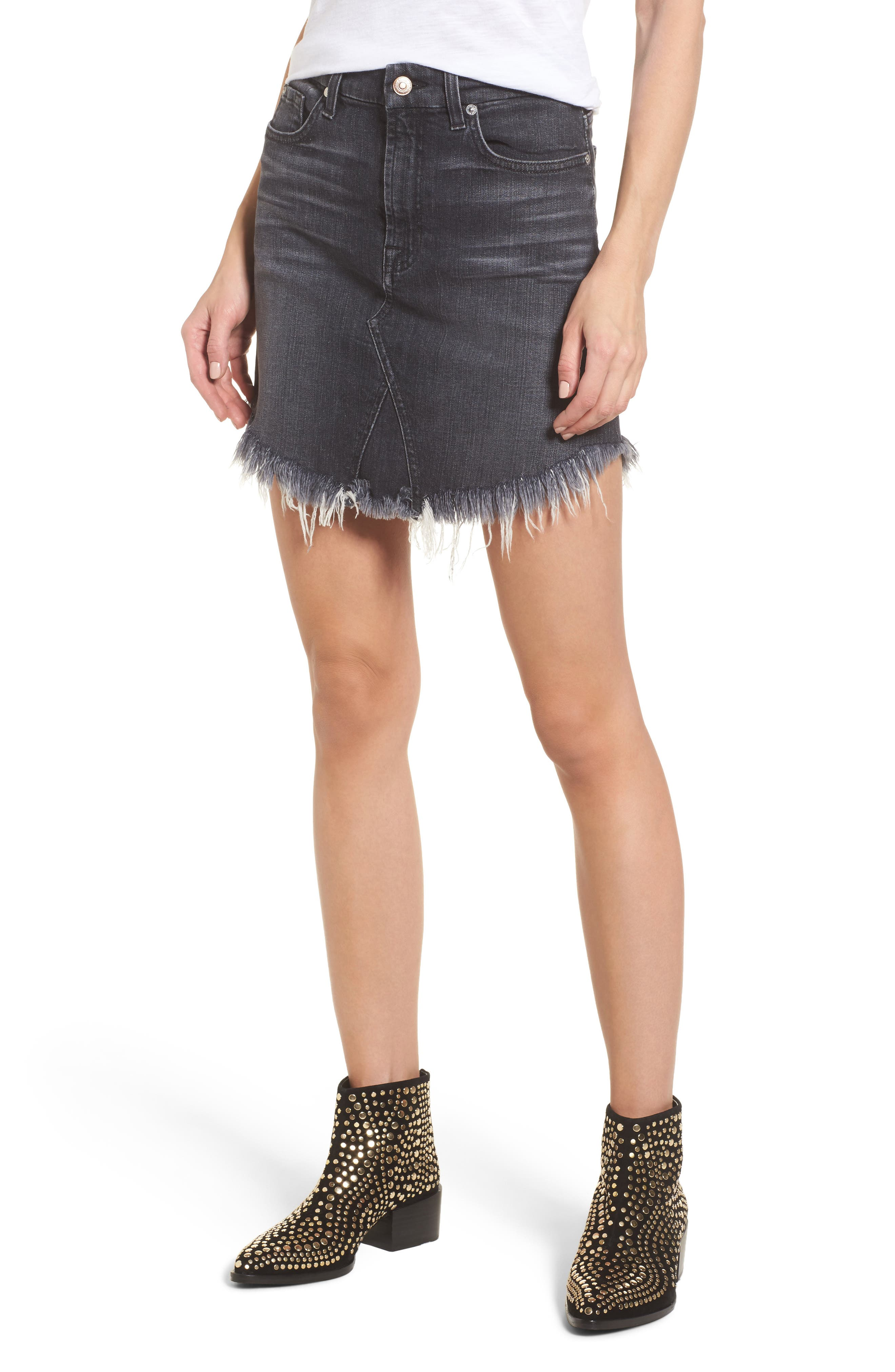 Denim Miniskirt,                             Main thumbnail 1, color,                             004
