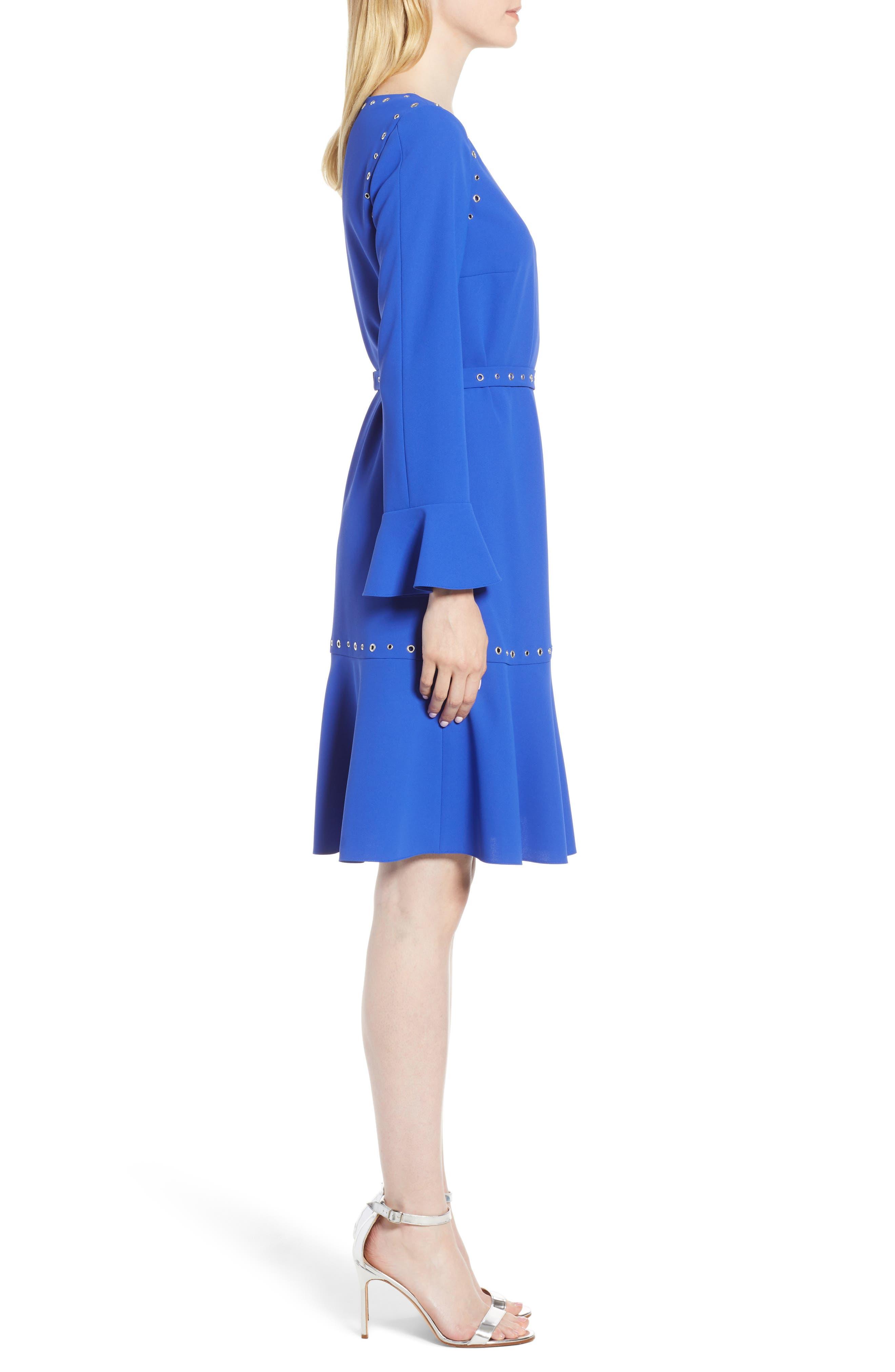 Henryke Rivet Crepe Dress,                             Alternate thumbnail 3, color,                             SAILOR BLUE