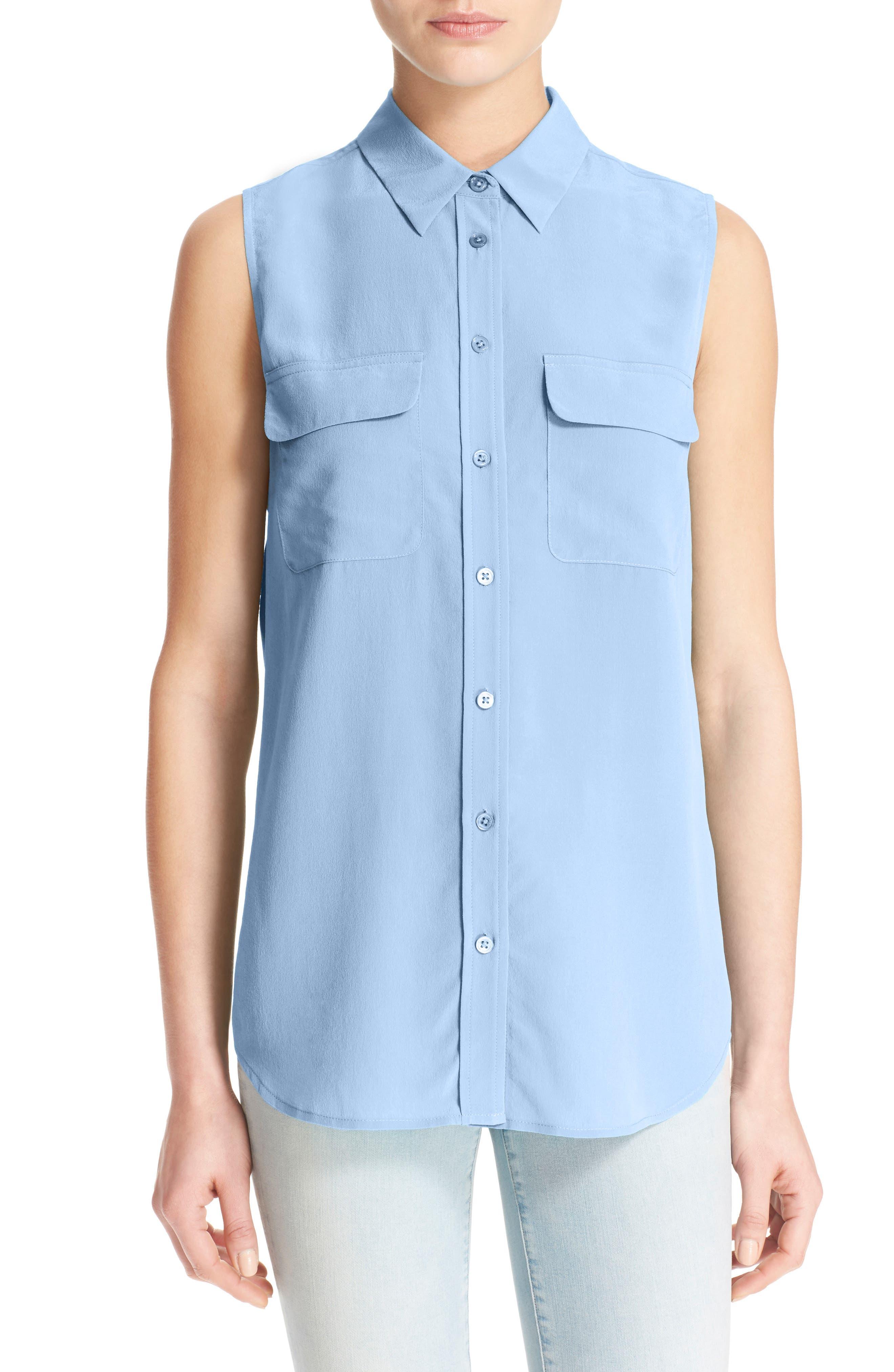 'Slim Signature' Sleeveless Silk Shirt,                             Alternate thumbnail 80, color,