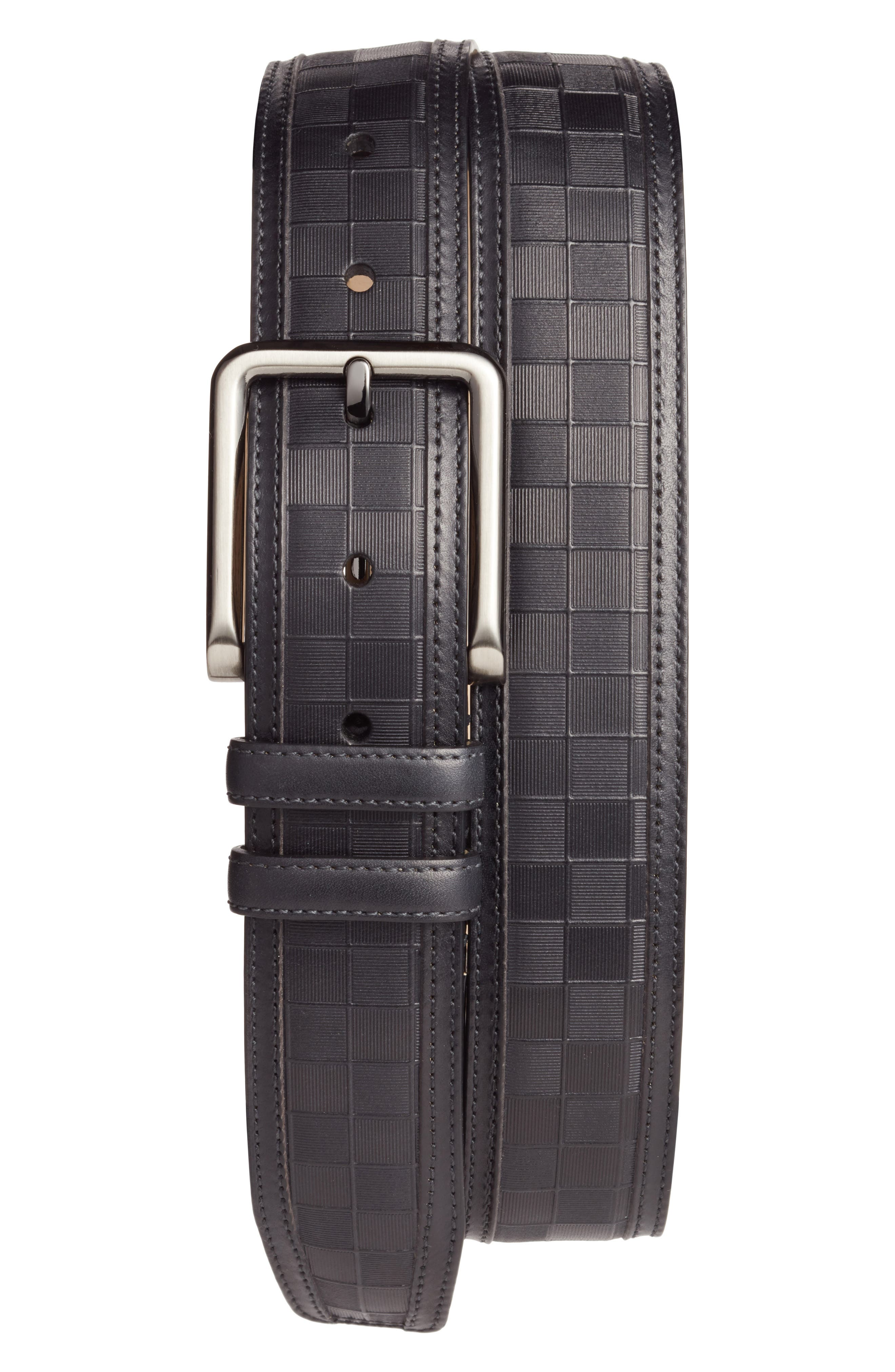 Check Leather Belt,                         Main,                         color,