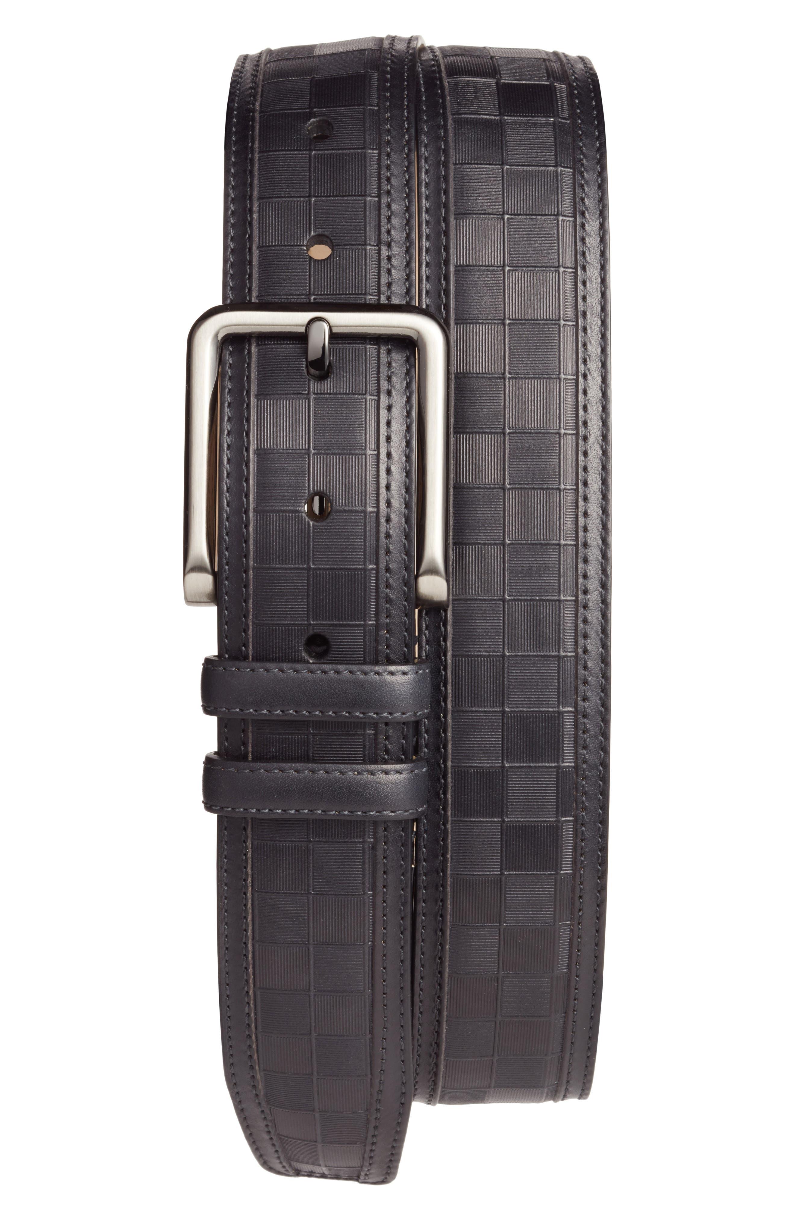 Check Leather Belt,                         Main,                         color, BLACK