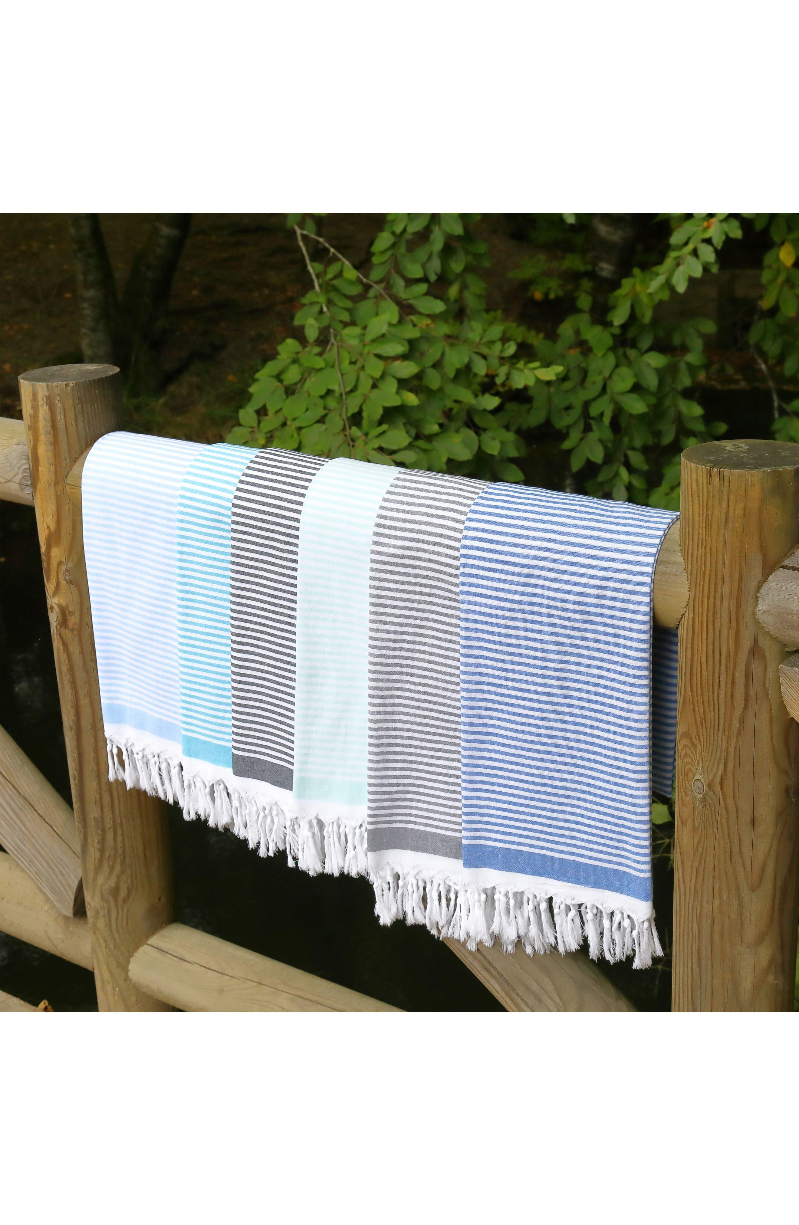Soft Stripes Turkish Pestemal Towel,                             Alternate thumbnail 10, color,                             BLACK