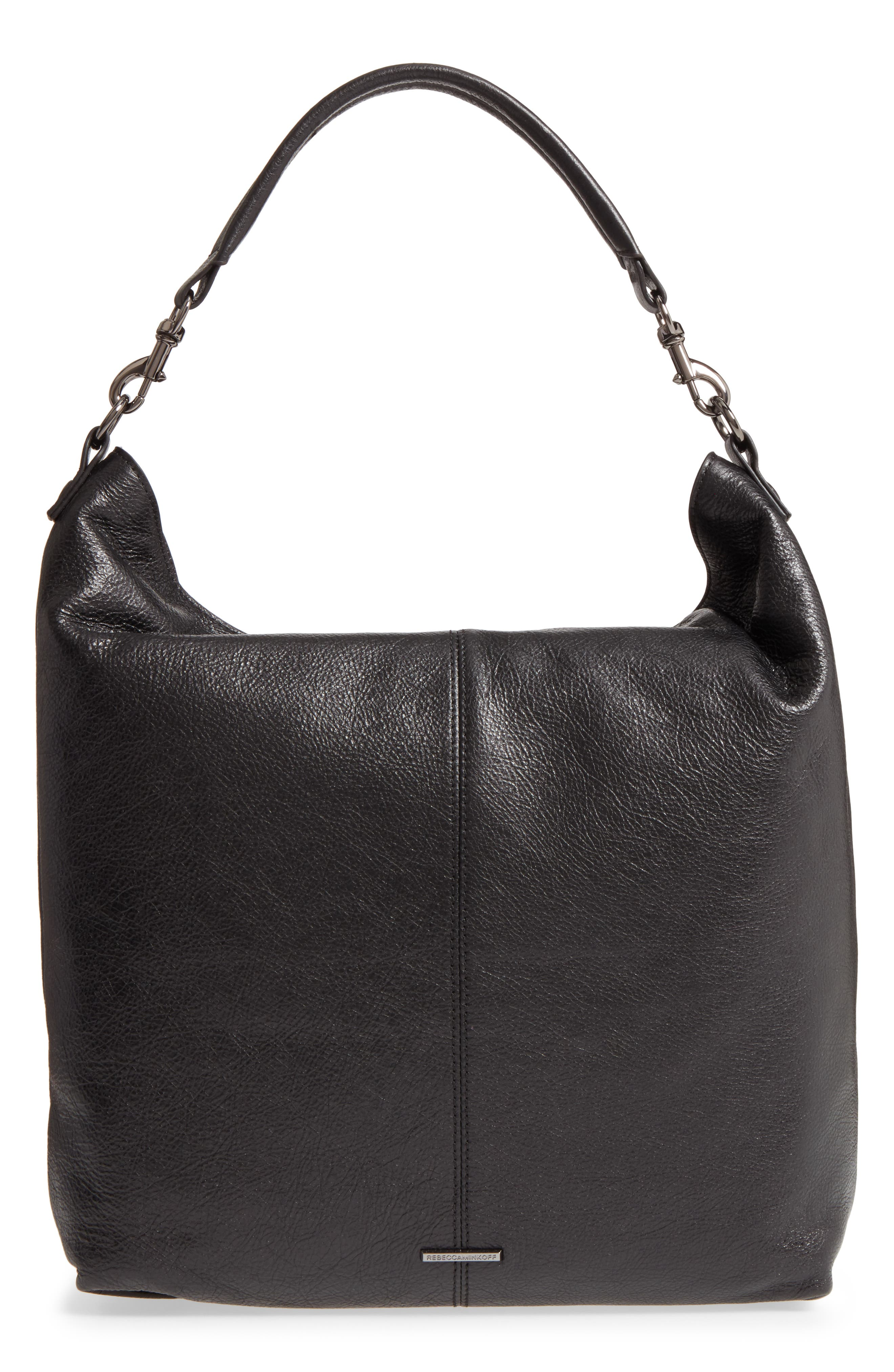 Large Jamie Convertible Leather Hobo,                             Alternate thumbnail 4, color,                             001