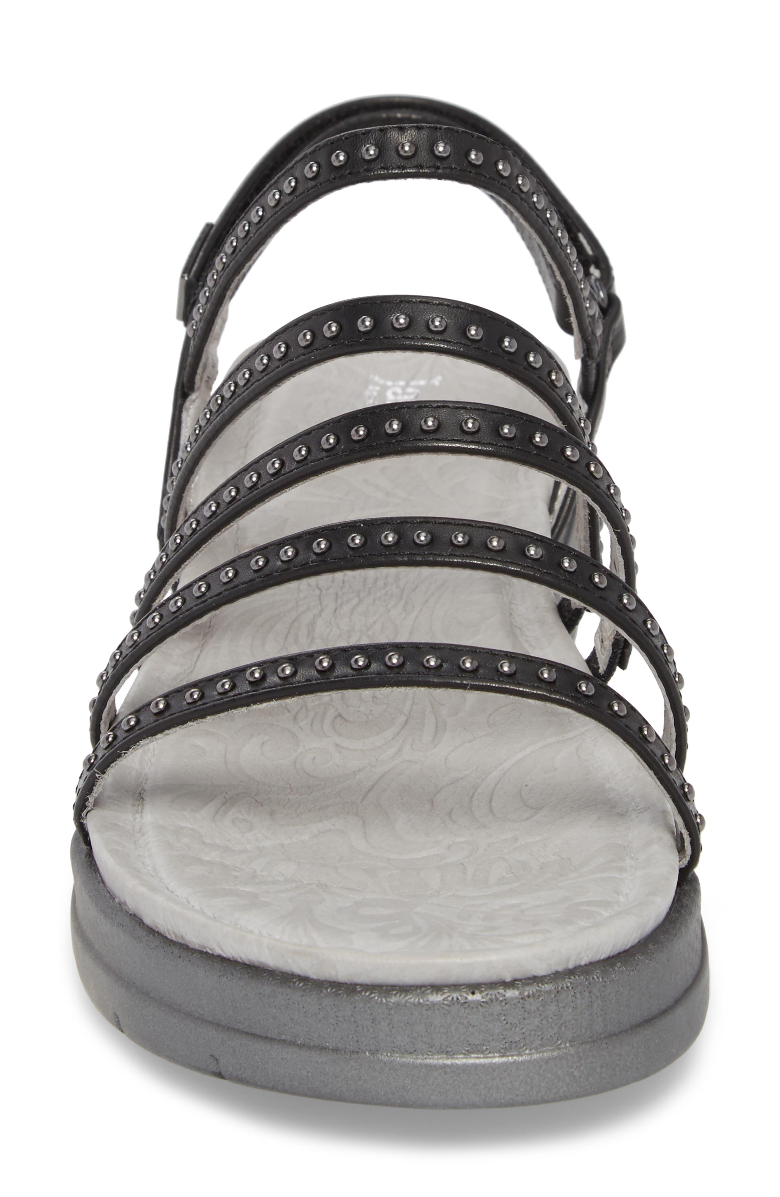 Elegance Studded Strappy Sandal,                             Alternate thumbnail 4, color,                             BLACK LEATHER